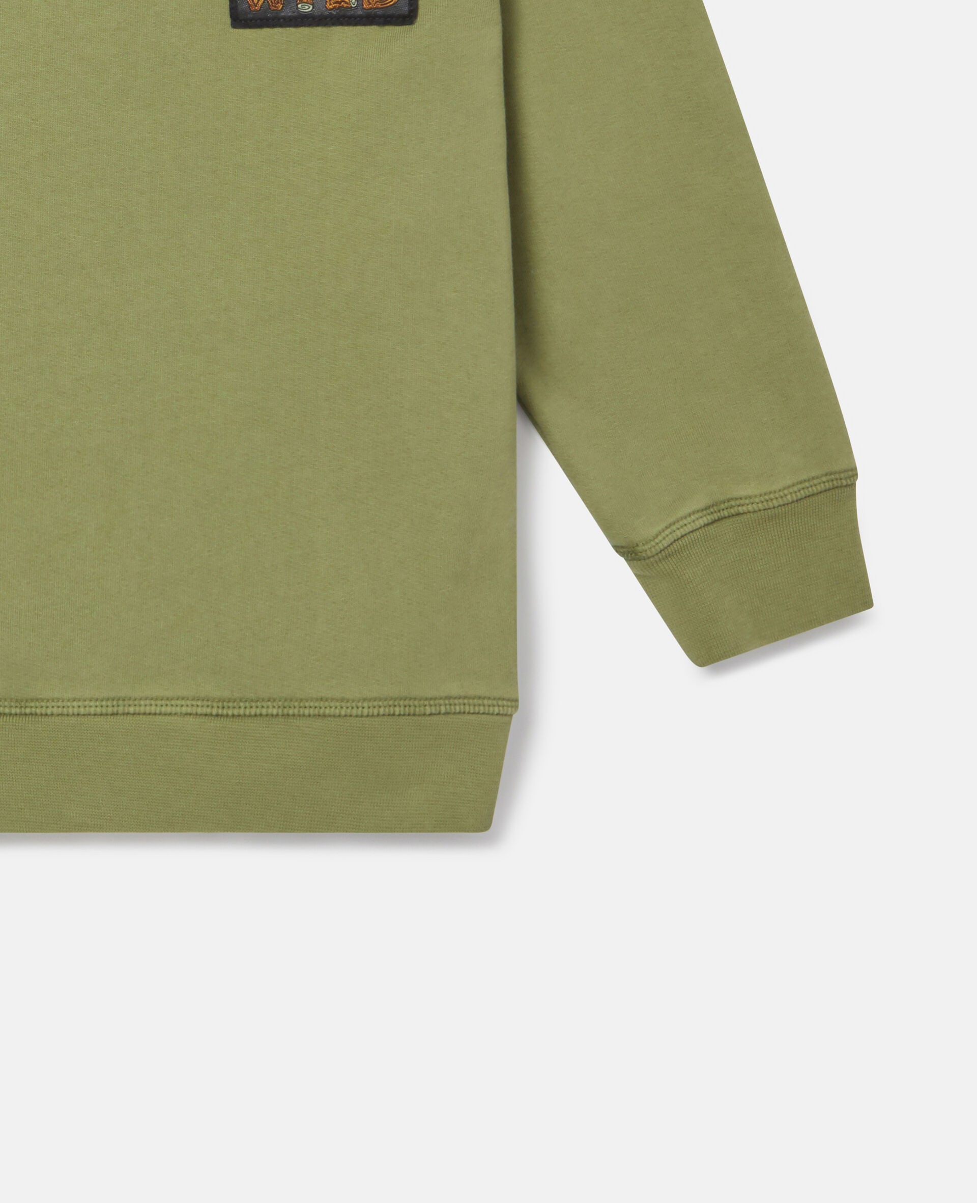 Felpa Oversize in Cotone con Badge-Verde-large image number 2