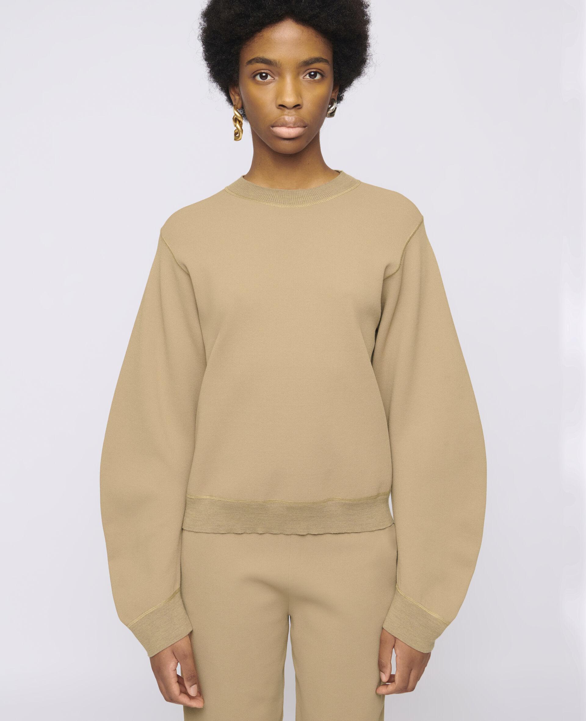 致密针织套衫-棕色-large image number 3