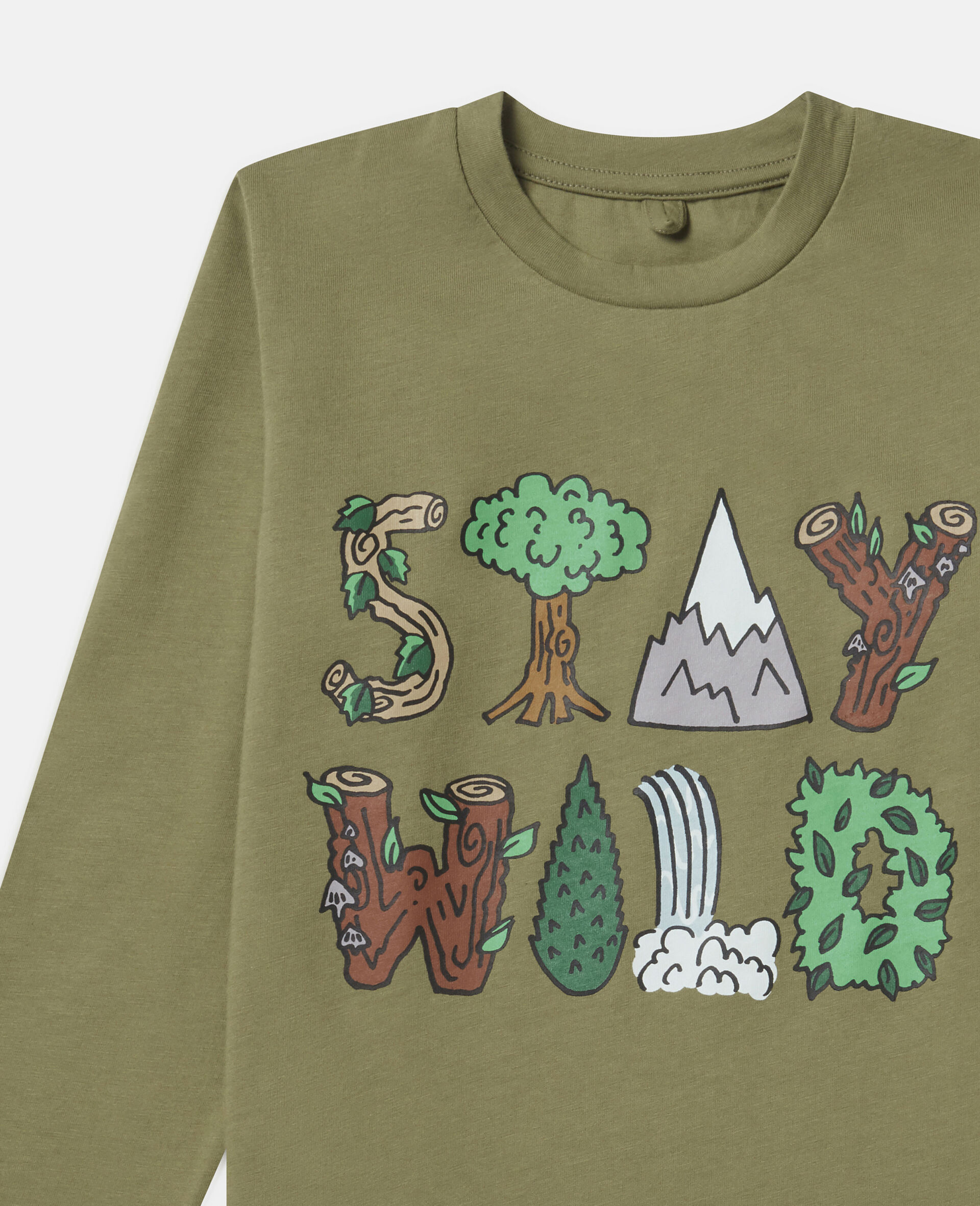 Oversized 'Stay Wild' Top-Green-large image number 1