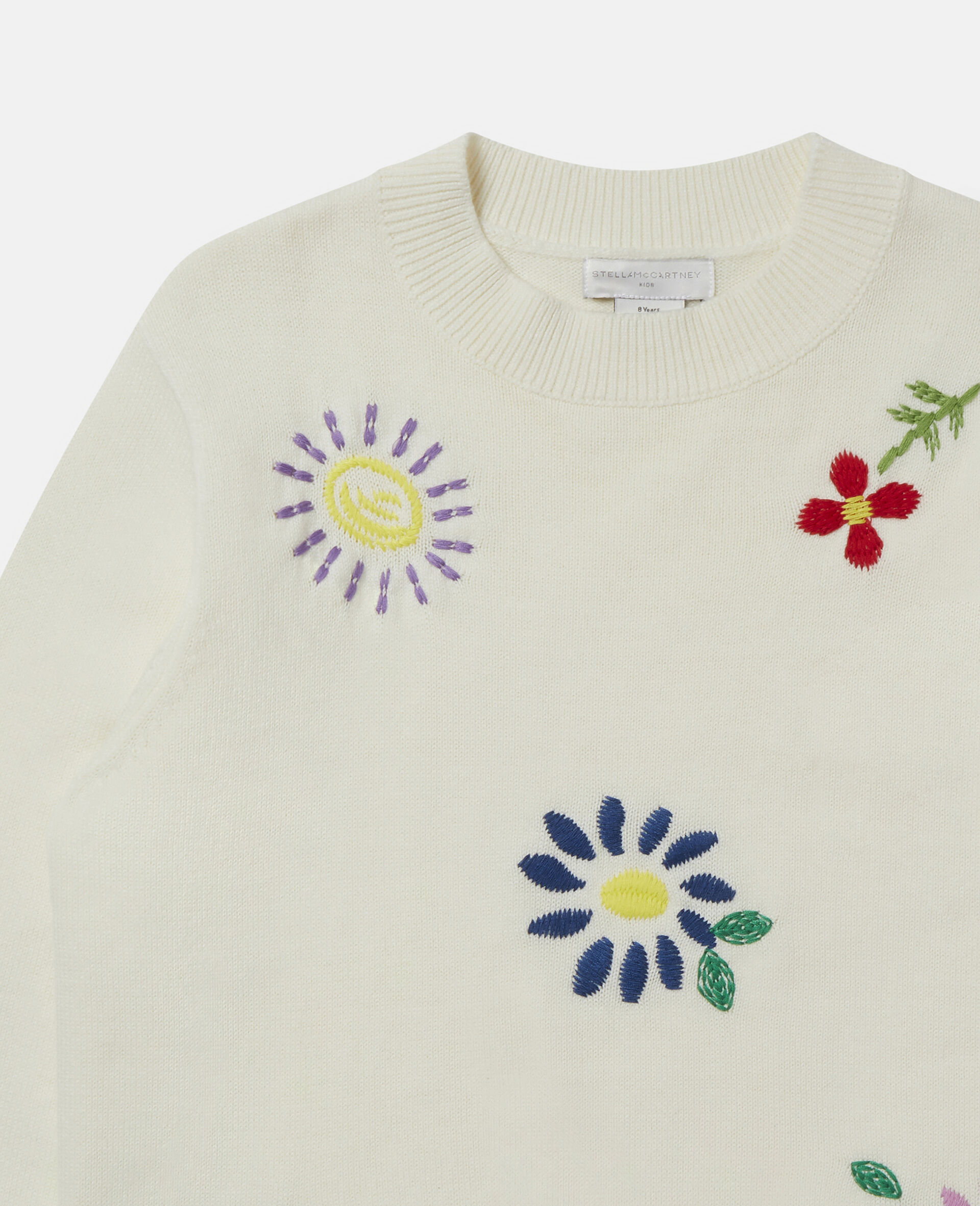 Embroidered Flowers Oversized Jumper-White-large image number 1