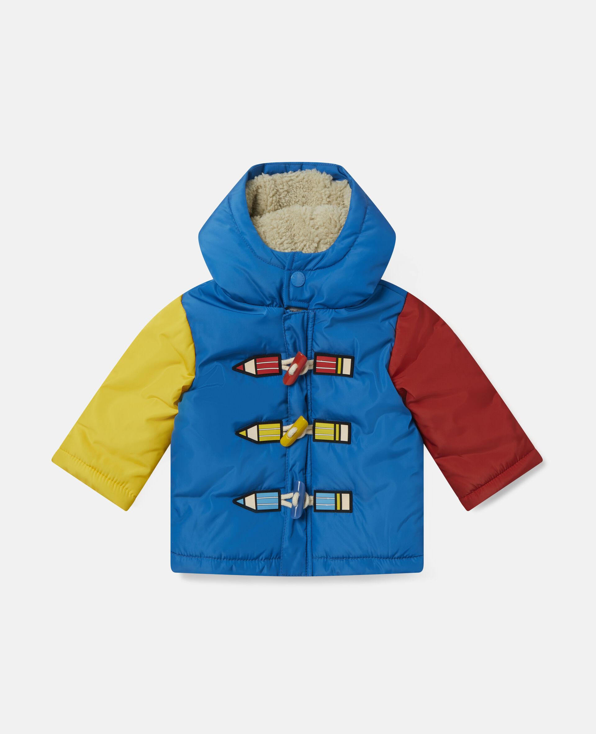 Colourblock Pencil Puffer Jacket-Multicolour-large image number 0
