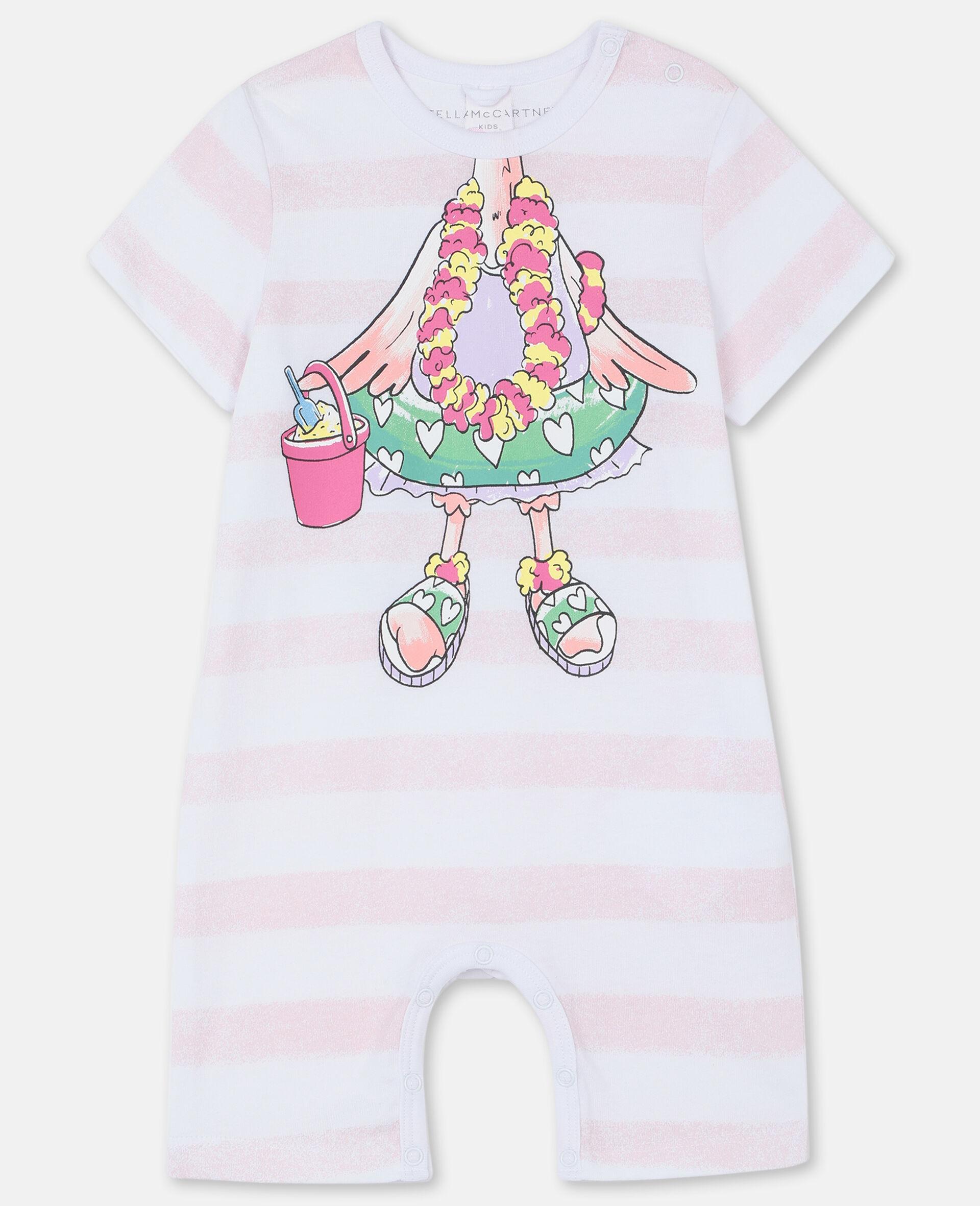 Trompe-L'Oeil Flamingo Cotton Jumpsuit-White-large image number 0