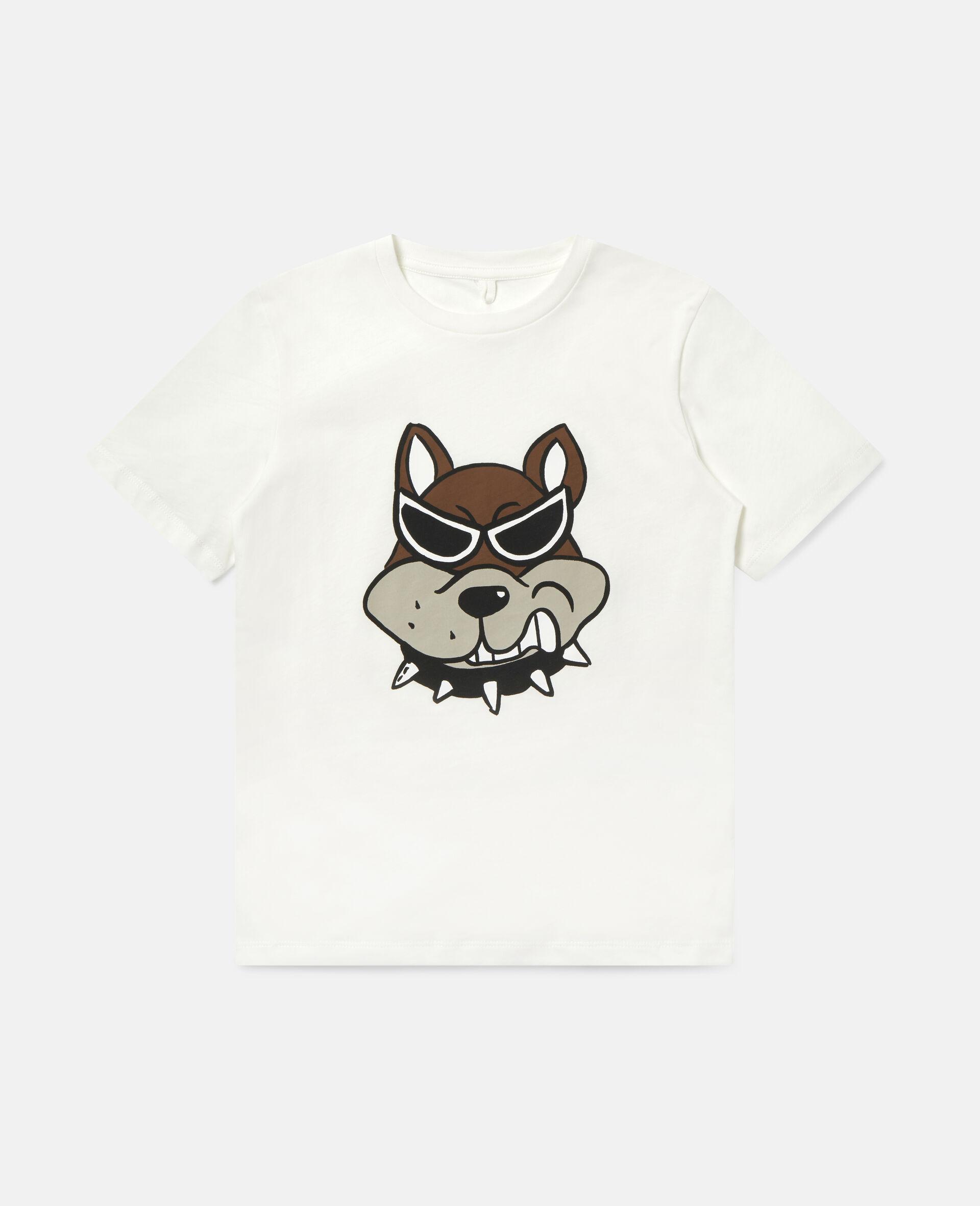T-Shirt aus Baumwolle mit Bulldoggen-Print-Weiß-large image number 0