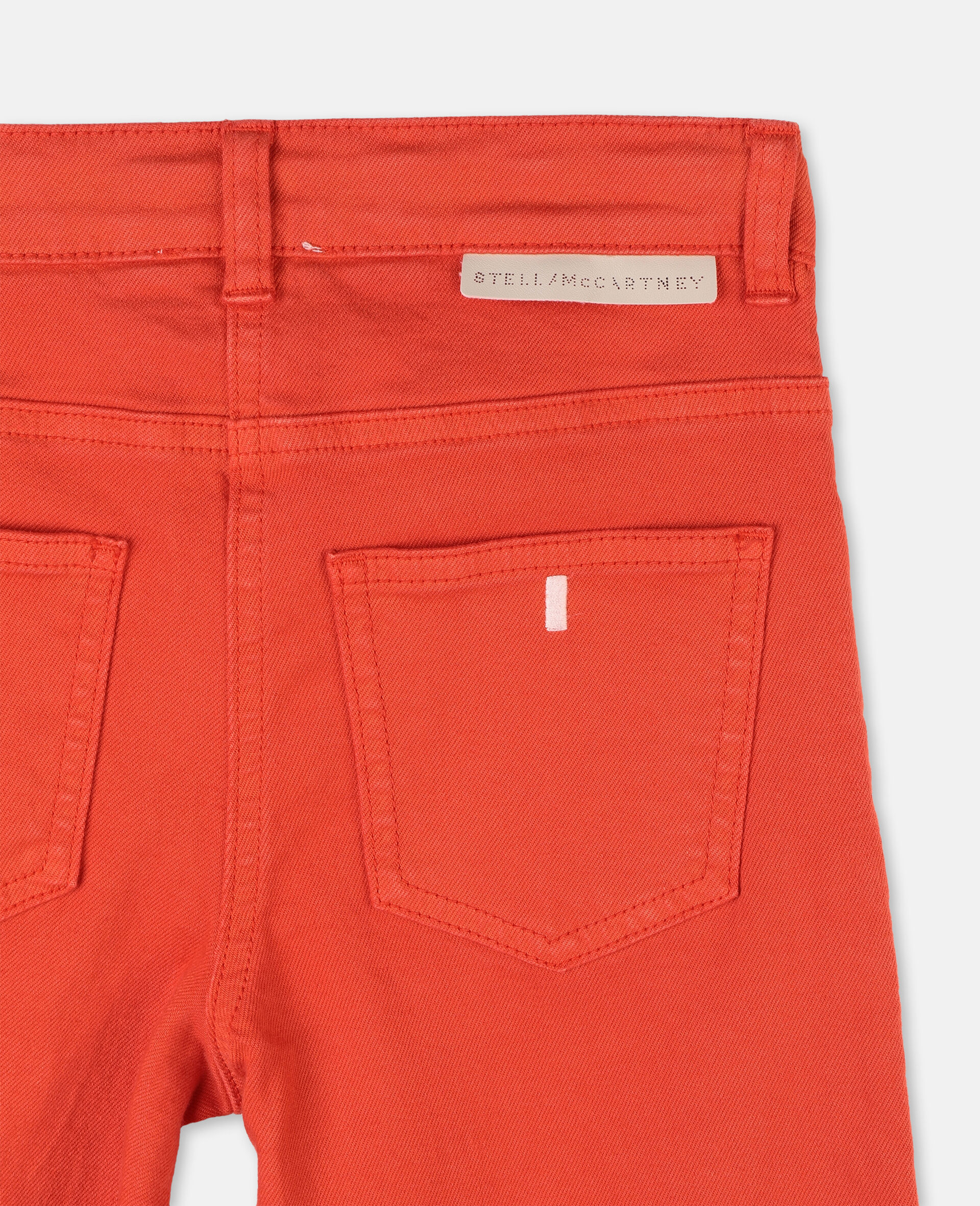 Cotton Denim Trousers-Red-large image number 1