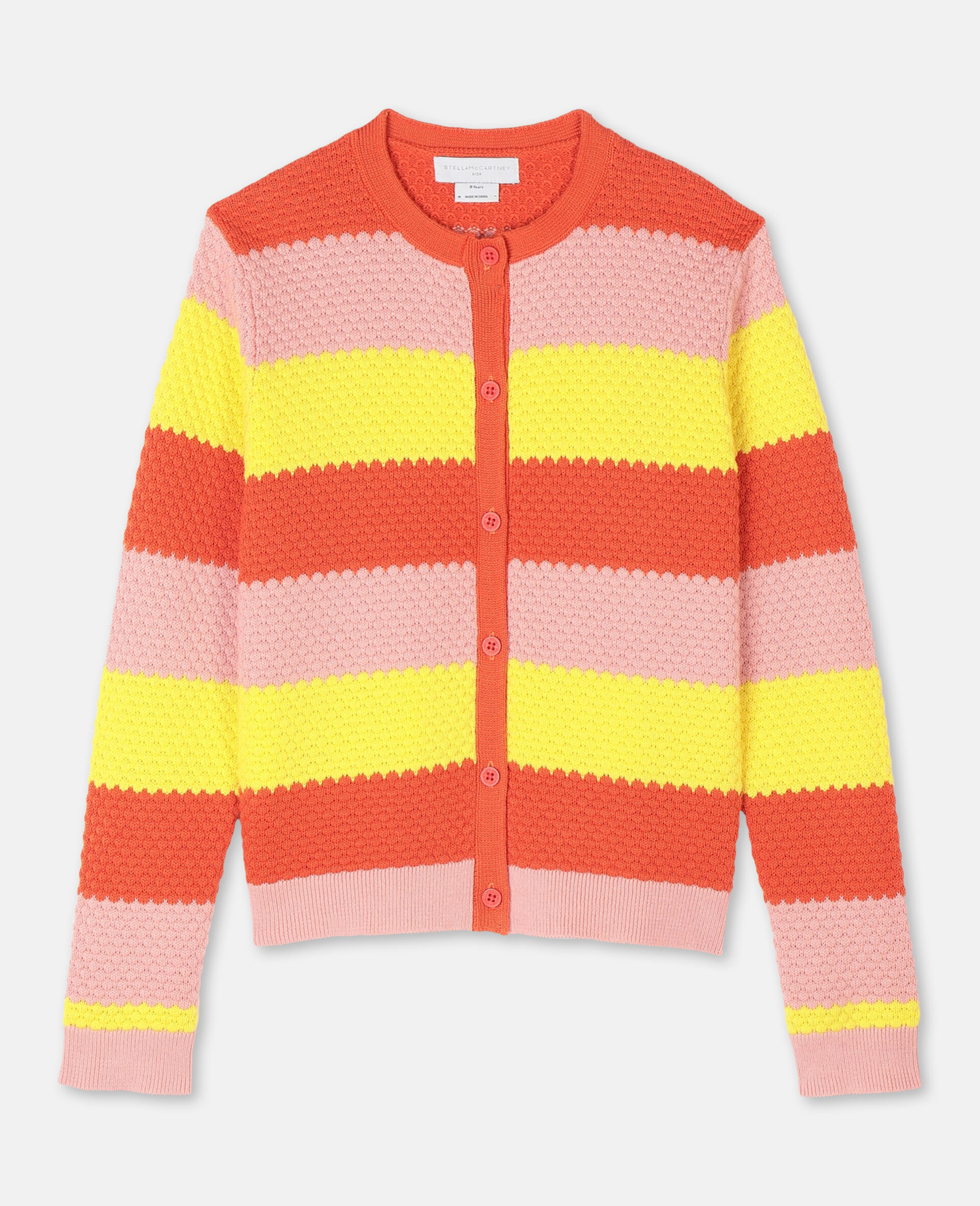 Bubble Knit Cotton Cardigan -Red-large image number 0