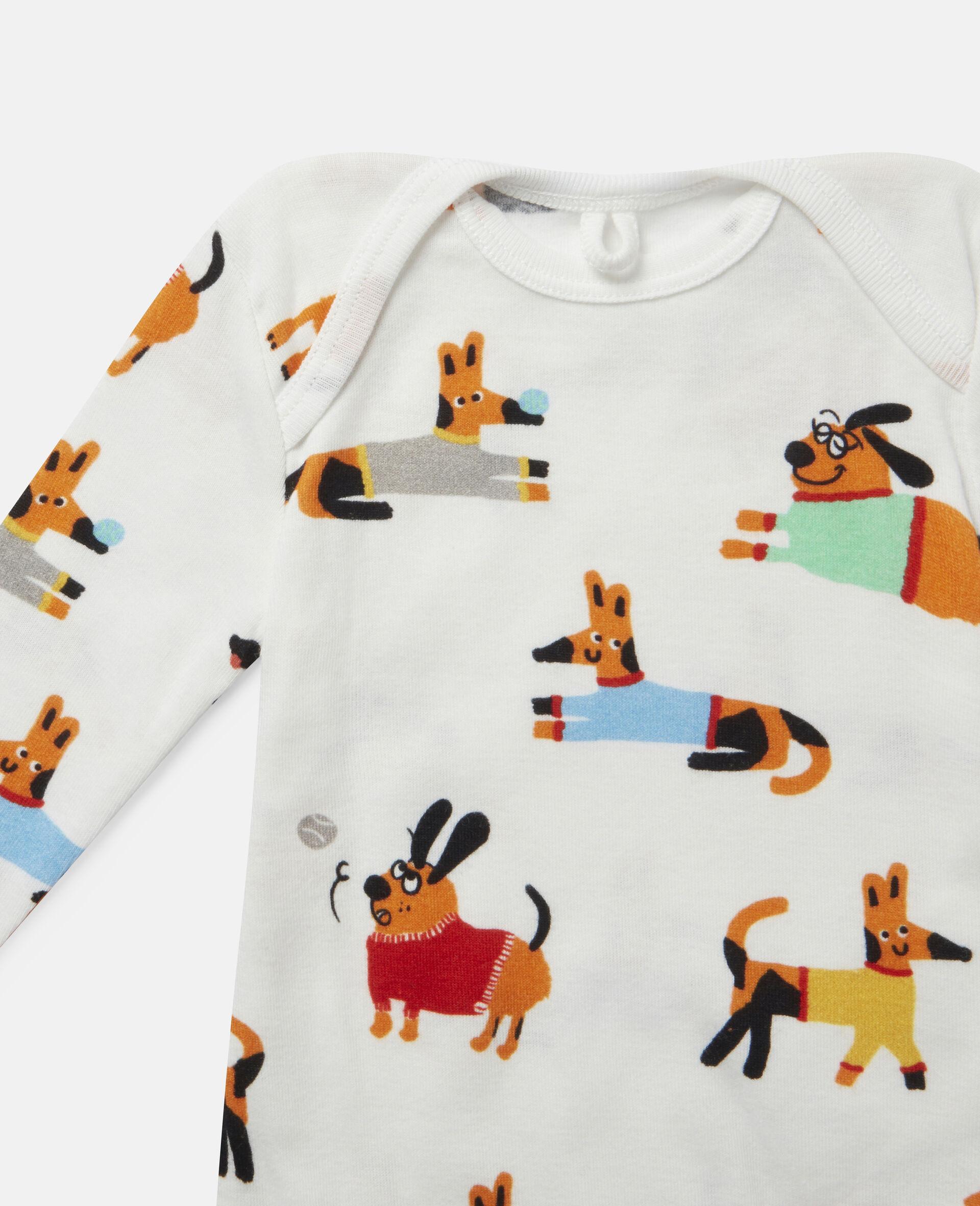 Ensemble de bodys en jersey côtelé imprimé chiots-Fantaisie-large image number 2
