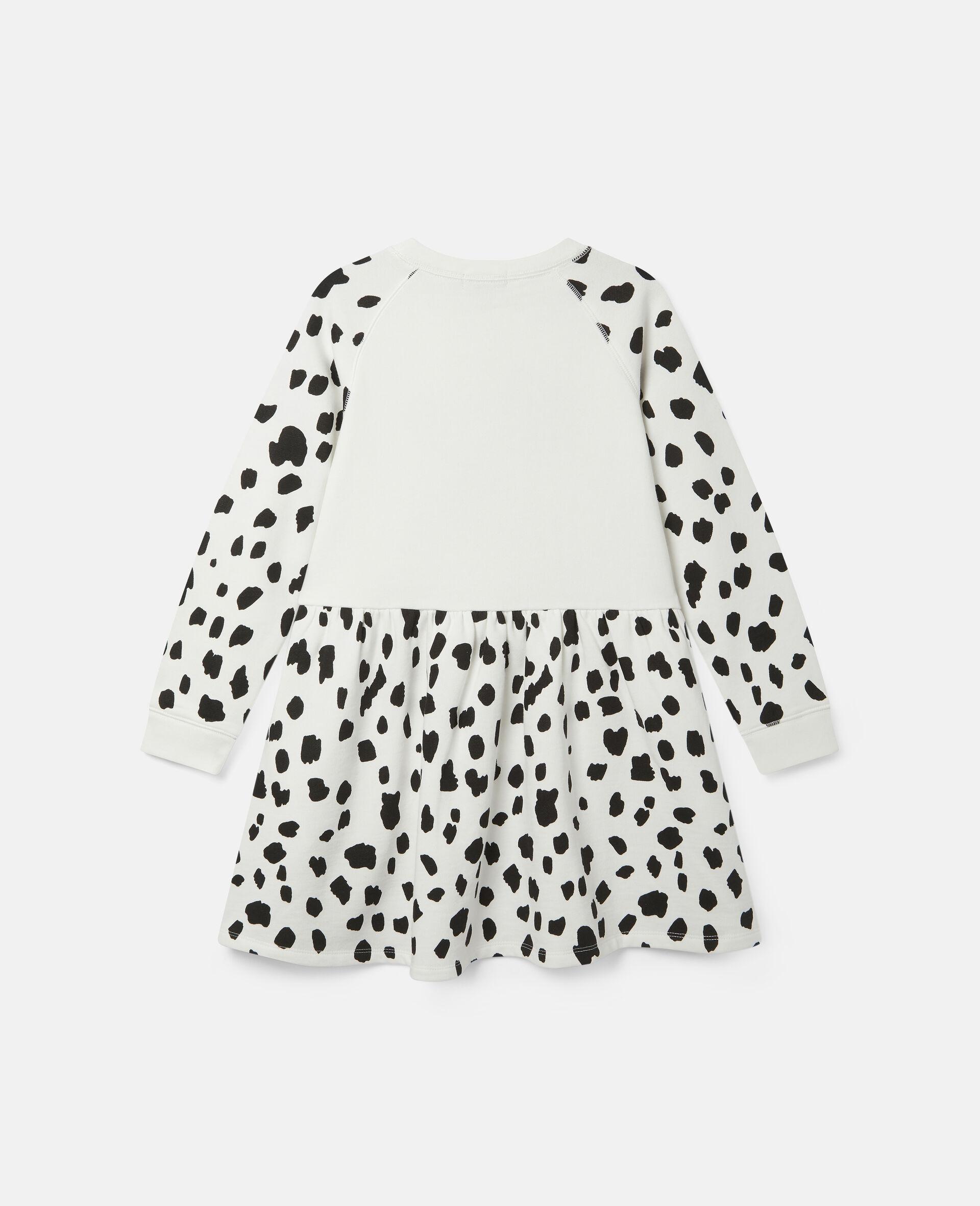 Dalmatian Spots Fleece Dress-White-large image number 3