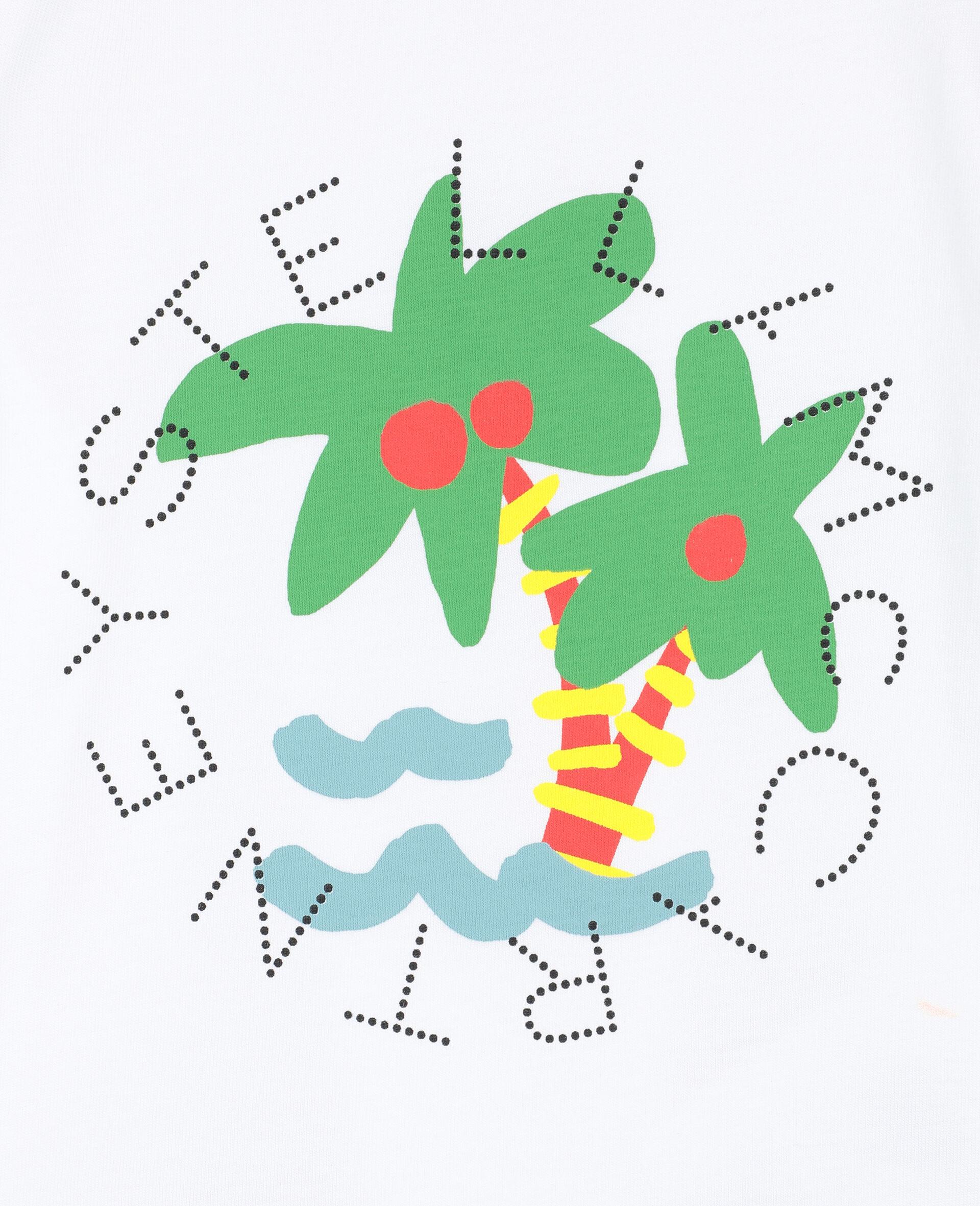T-Shirt aus Baumwolle mit Palmen-Print und Logo -Weiß-large image number 1