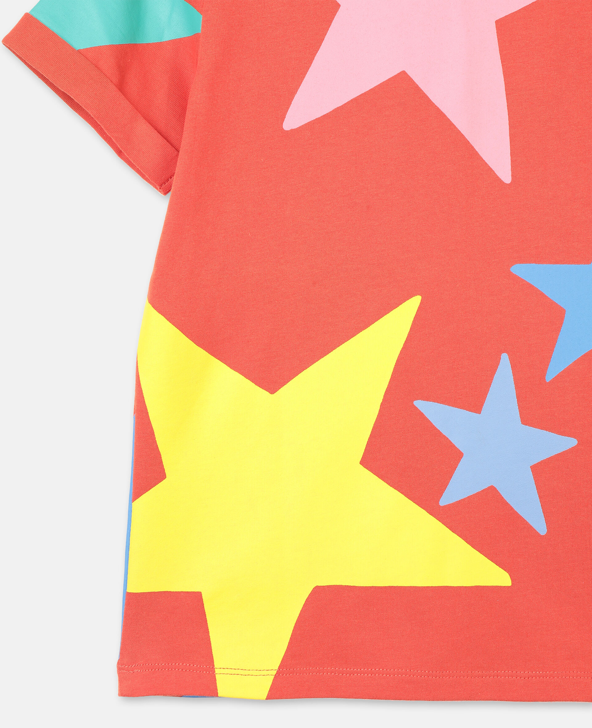 Multicolor Stars Cotton T-shirt-White-large image number 2