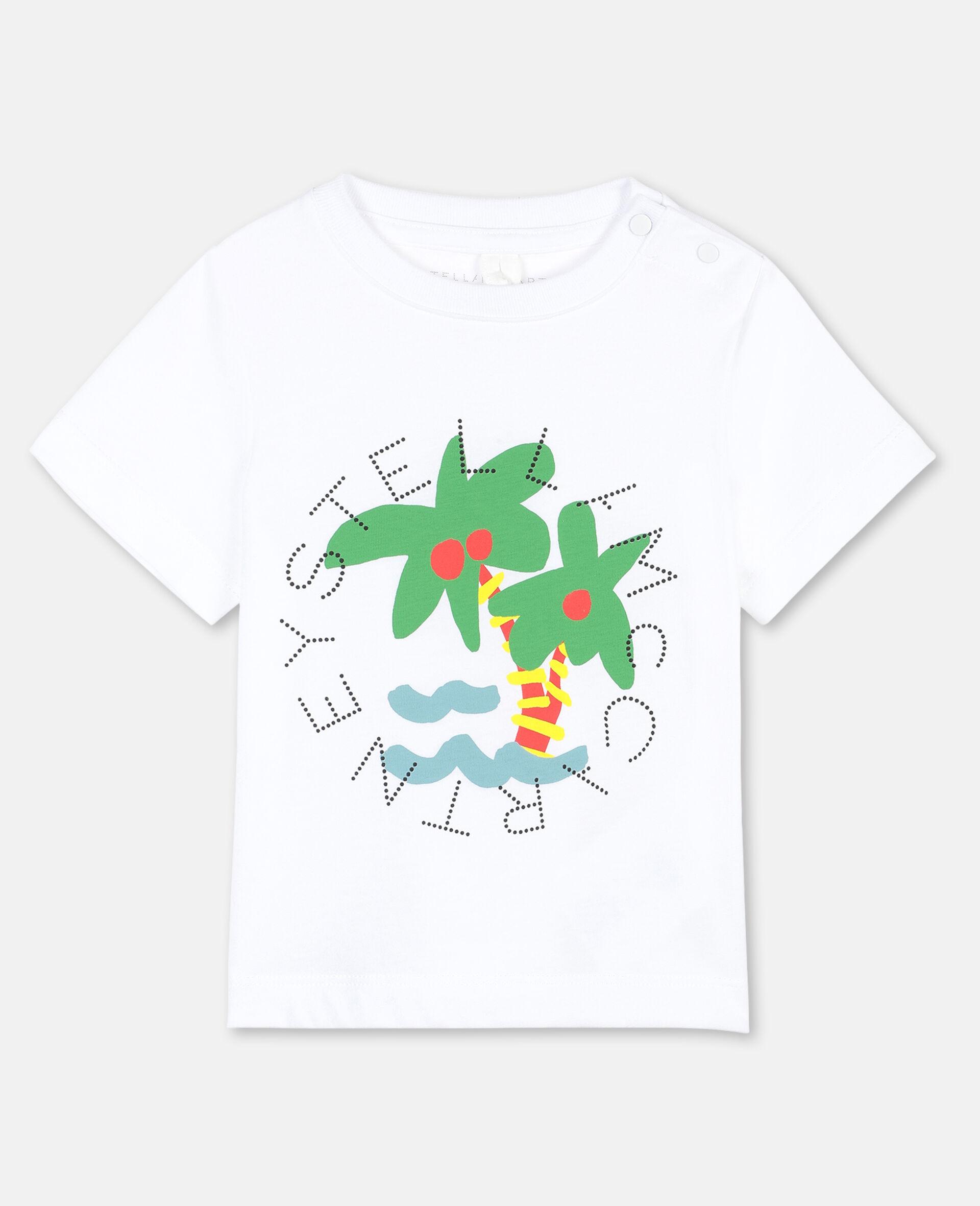 T-Shirt aus Baumwolle mit Palmen-Print und Logo -Weiß-large image number 0