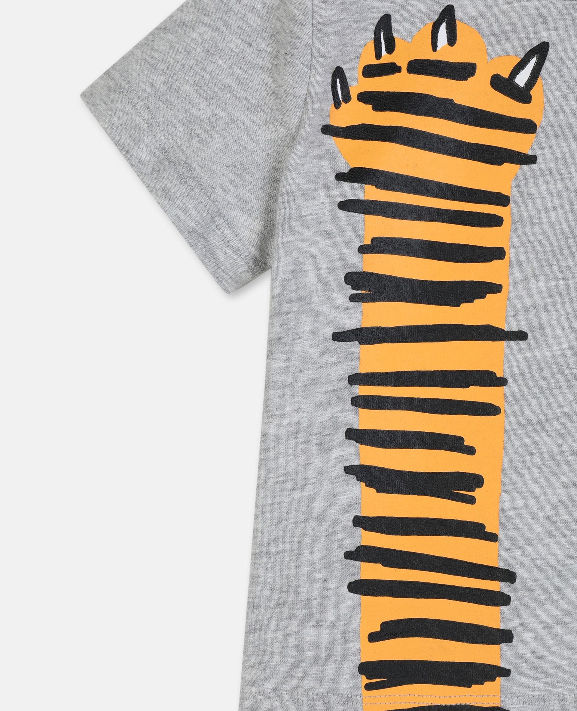 T-shirt en coton à motif pattes -Gris-large image number 1