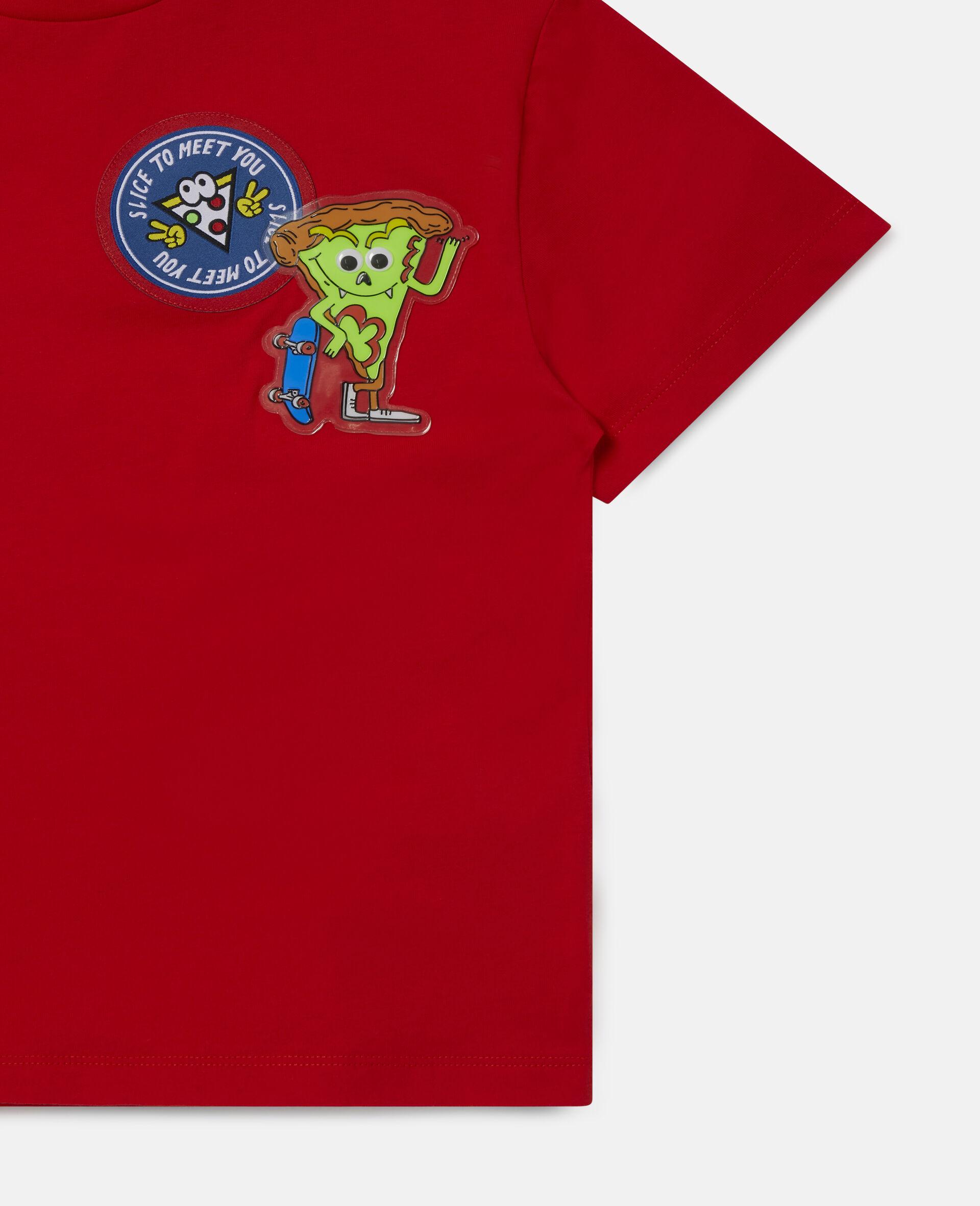 Übergroßes Baumwoll-T-Shirt mit Pizza-Aufnäher -Rot-large image number 1