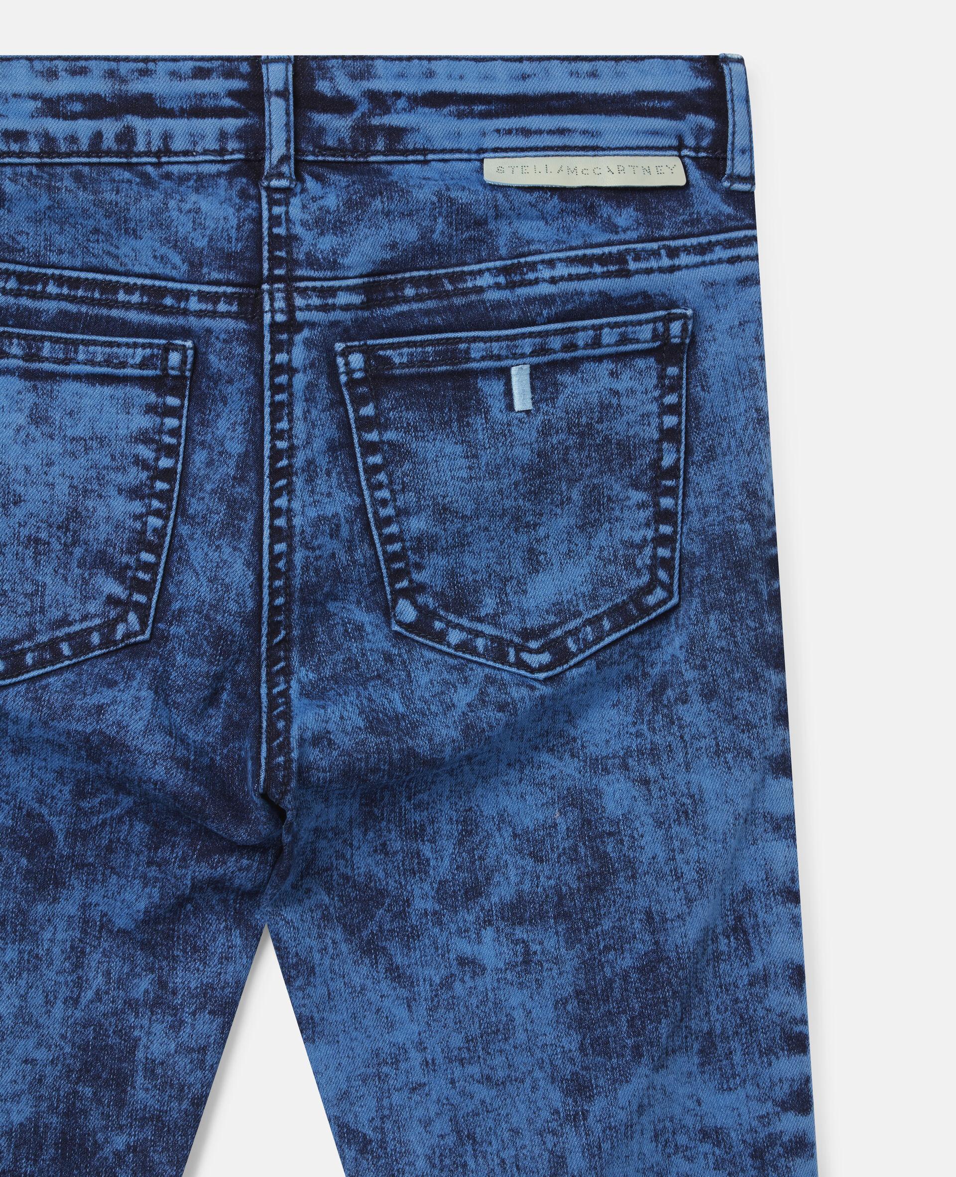 Acid Dye Wash Denim Trousers -Blue-large image number 2