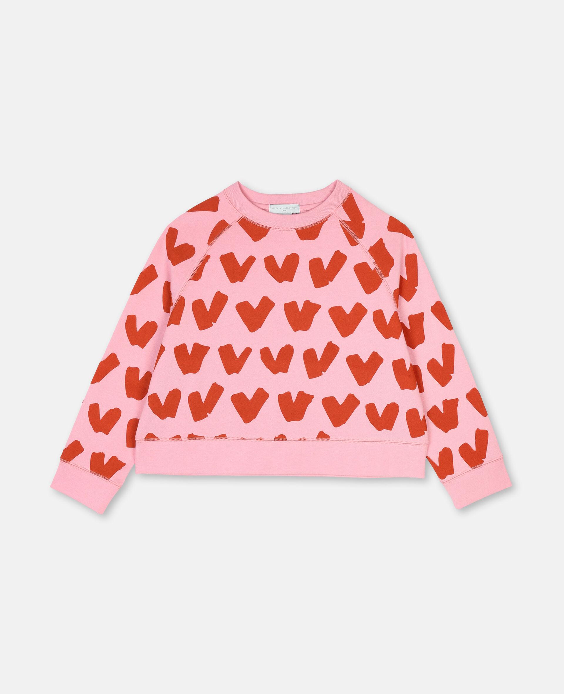 Hearts Cotton Fleece Sweatshirt -Pink-large image number 0