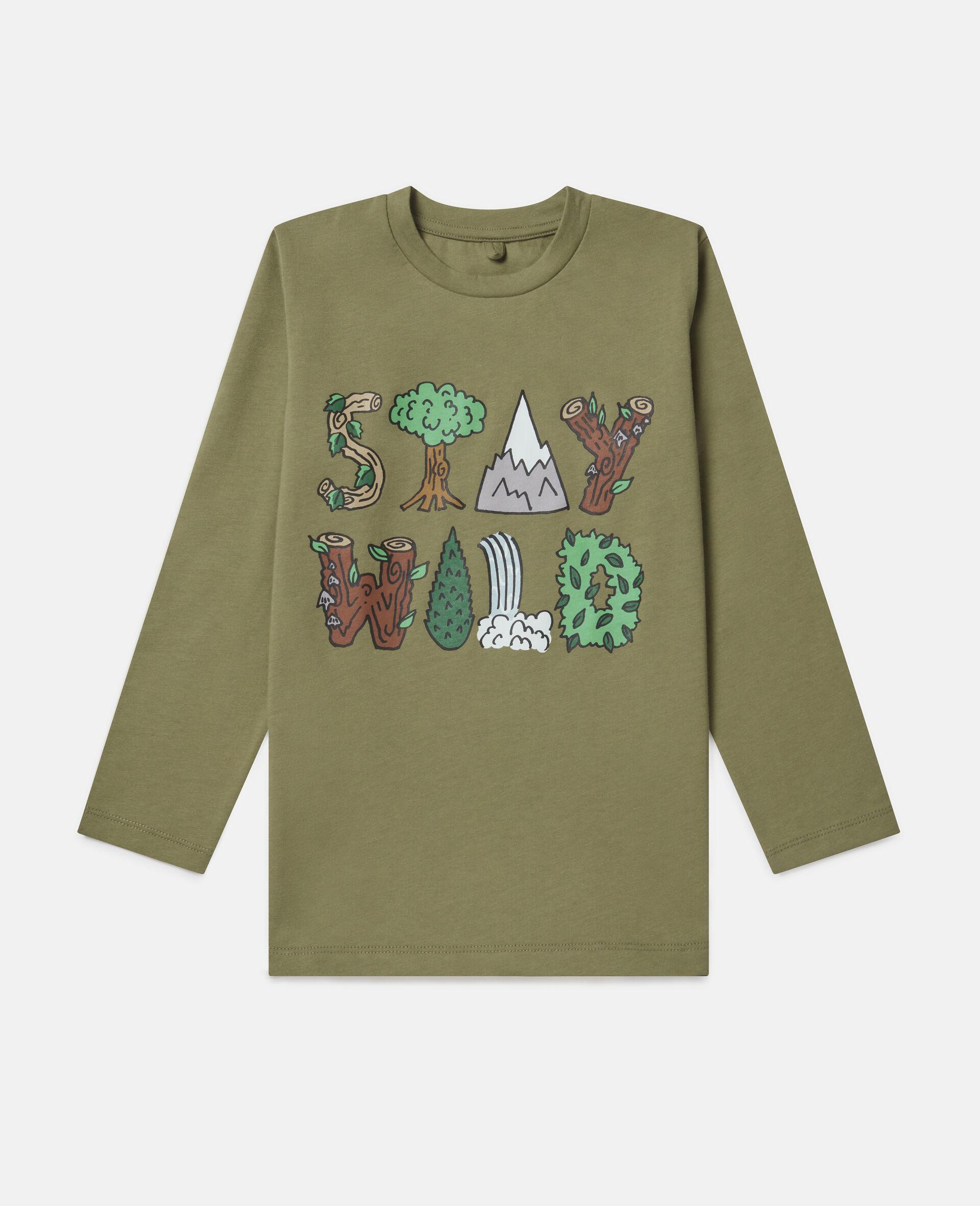 "T-Shirt Oversize ""Stay Wild""-Verde-large image number 0"