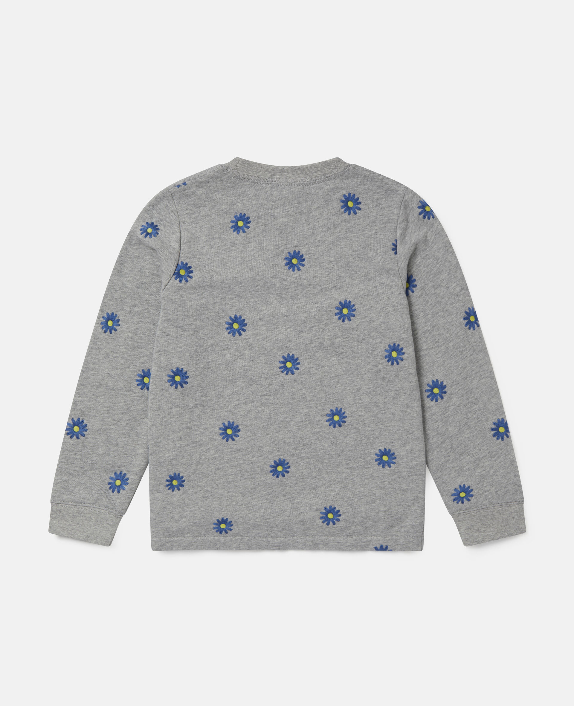 Embroidered Daisies Cotton Fleece Sweatshirt -Grey-large image number 3