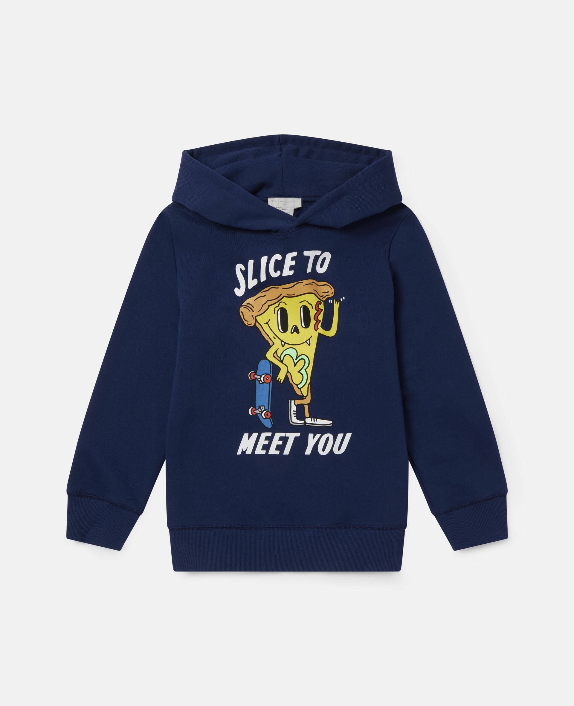 Sweat-shirt à capuche oversize motif pizza sur skateboard-Bleu-large image number 0