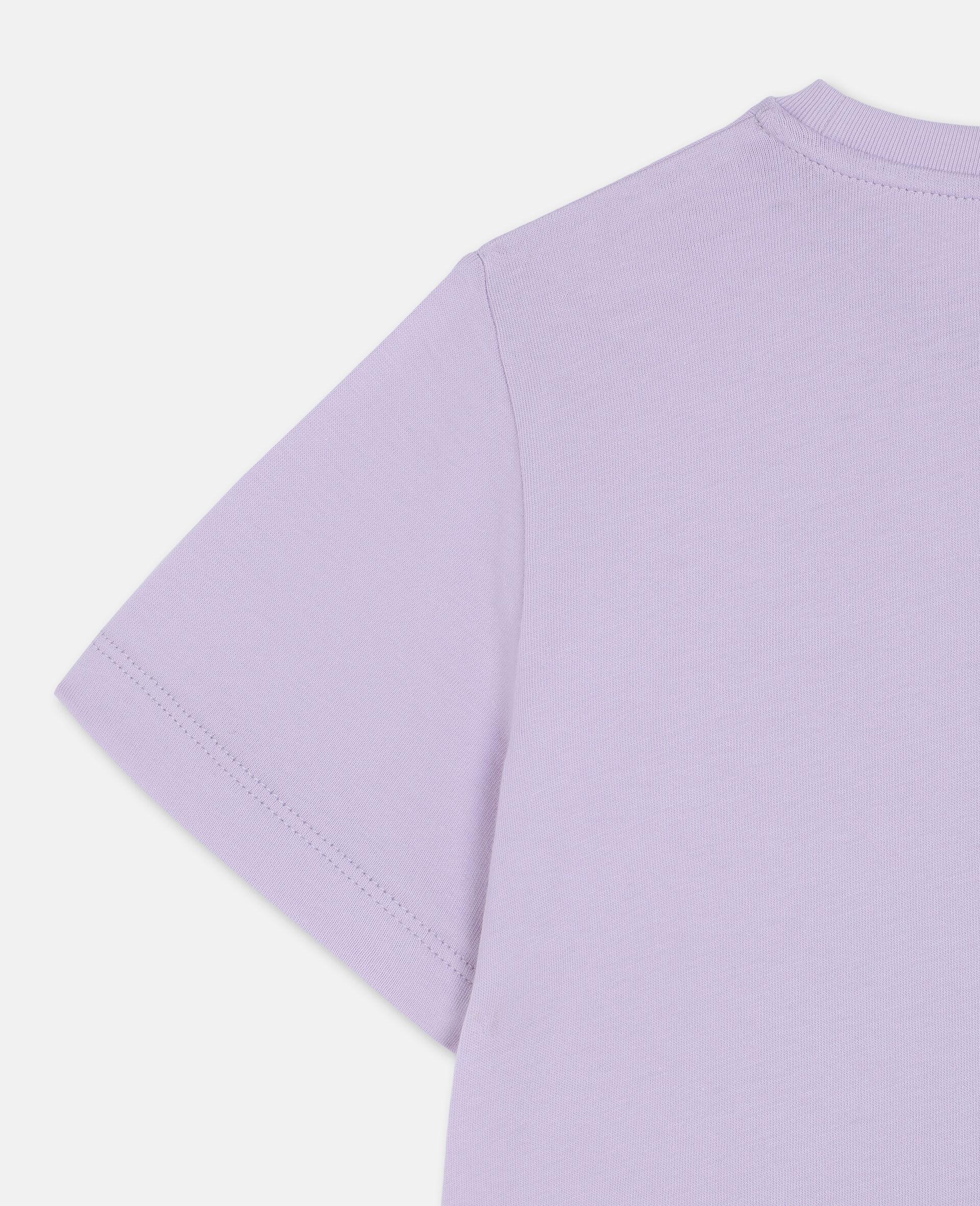 T-shirt en coton à flamant rose en trompe-l'œil-Rose-large image number 2