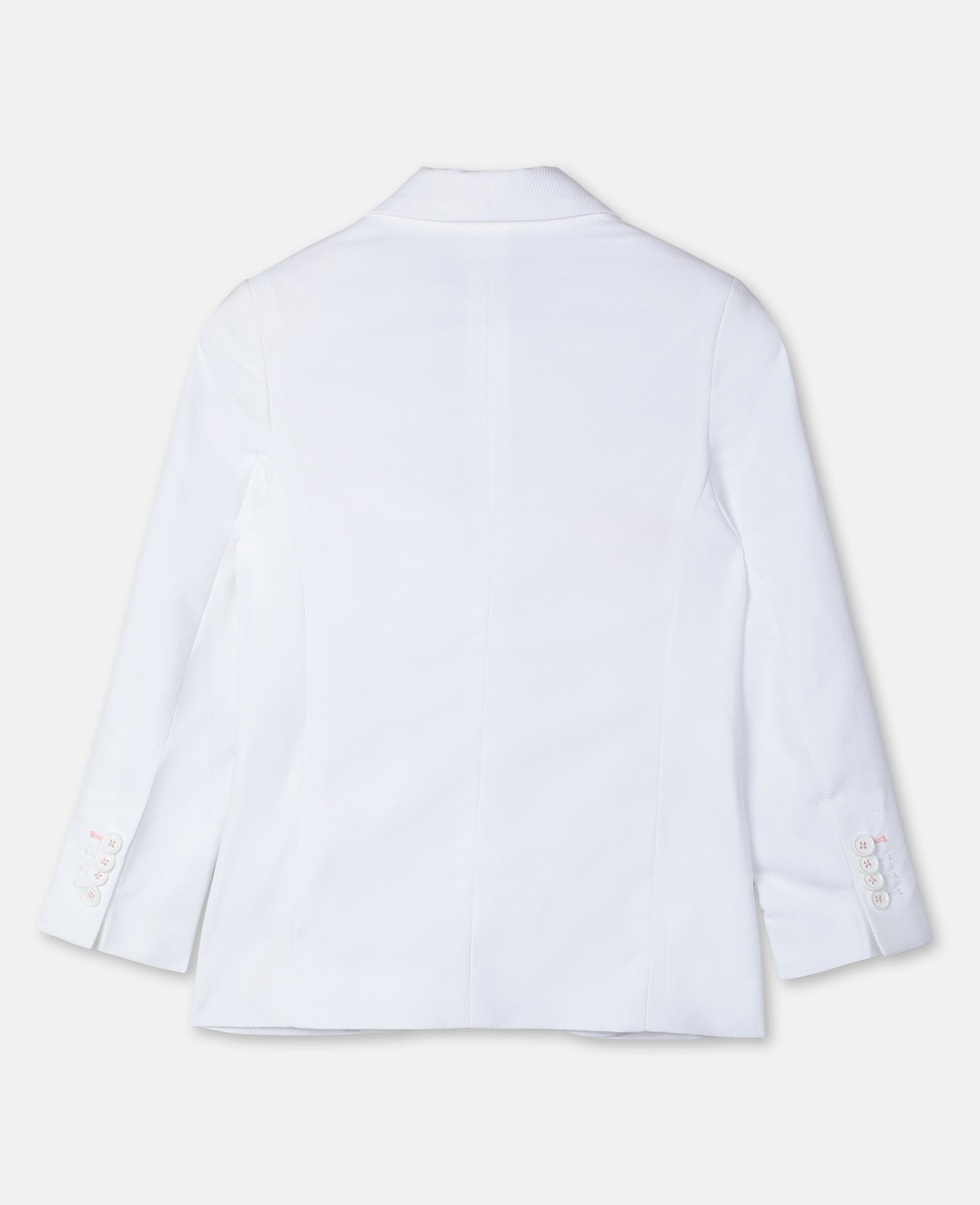 Cotton-Piqué Suit Jacket -White-large image number 3