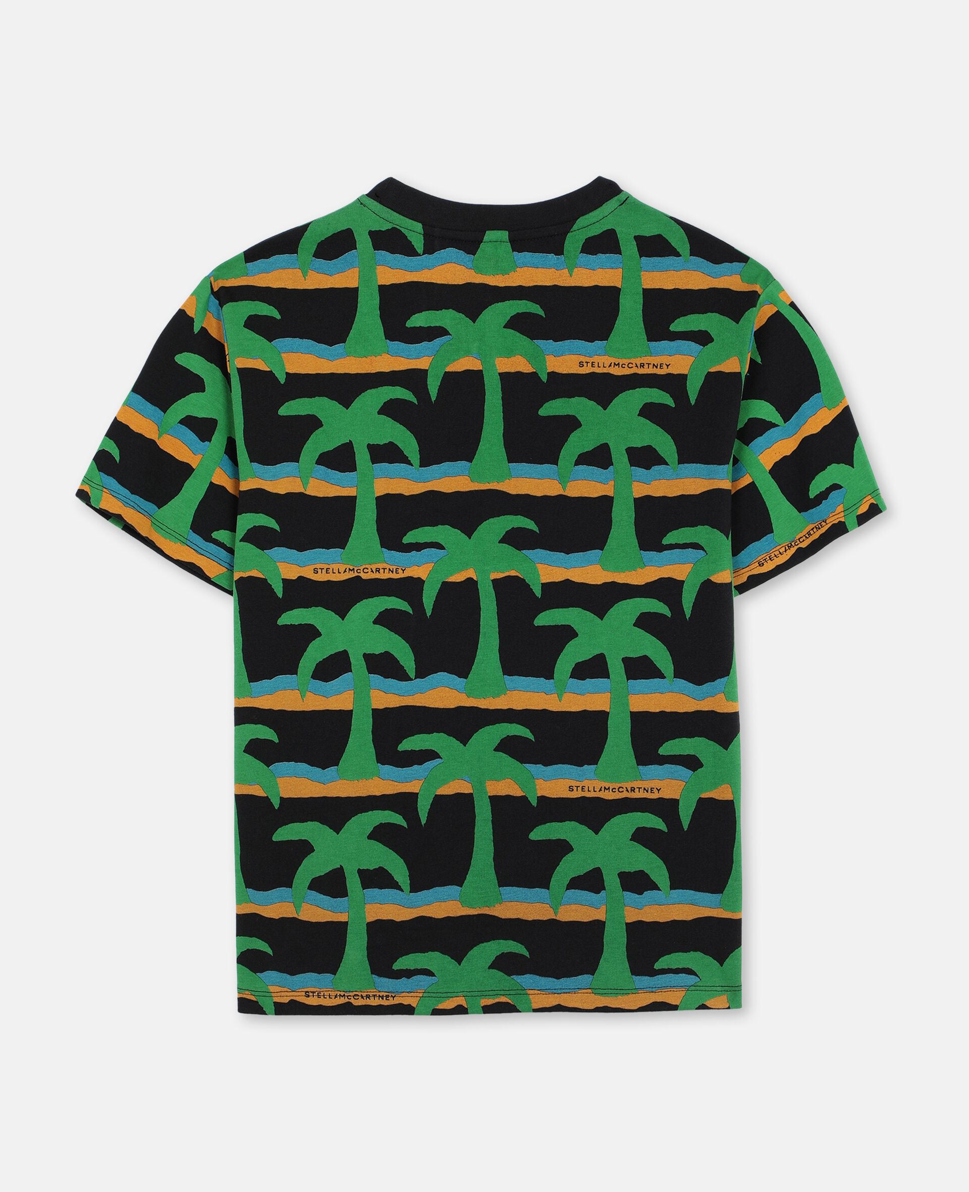 T-Shirt Oversize in Cotone con Palme -Nero-large image number 3