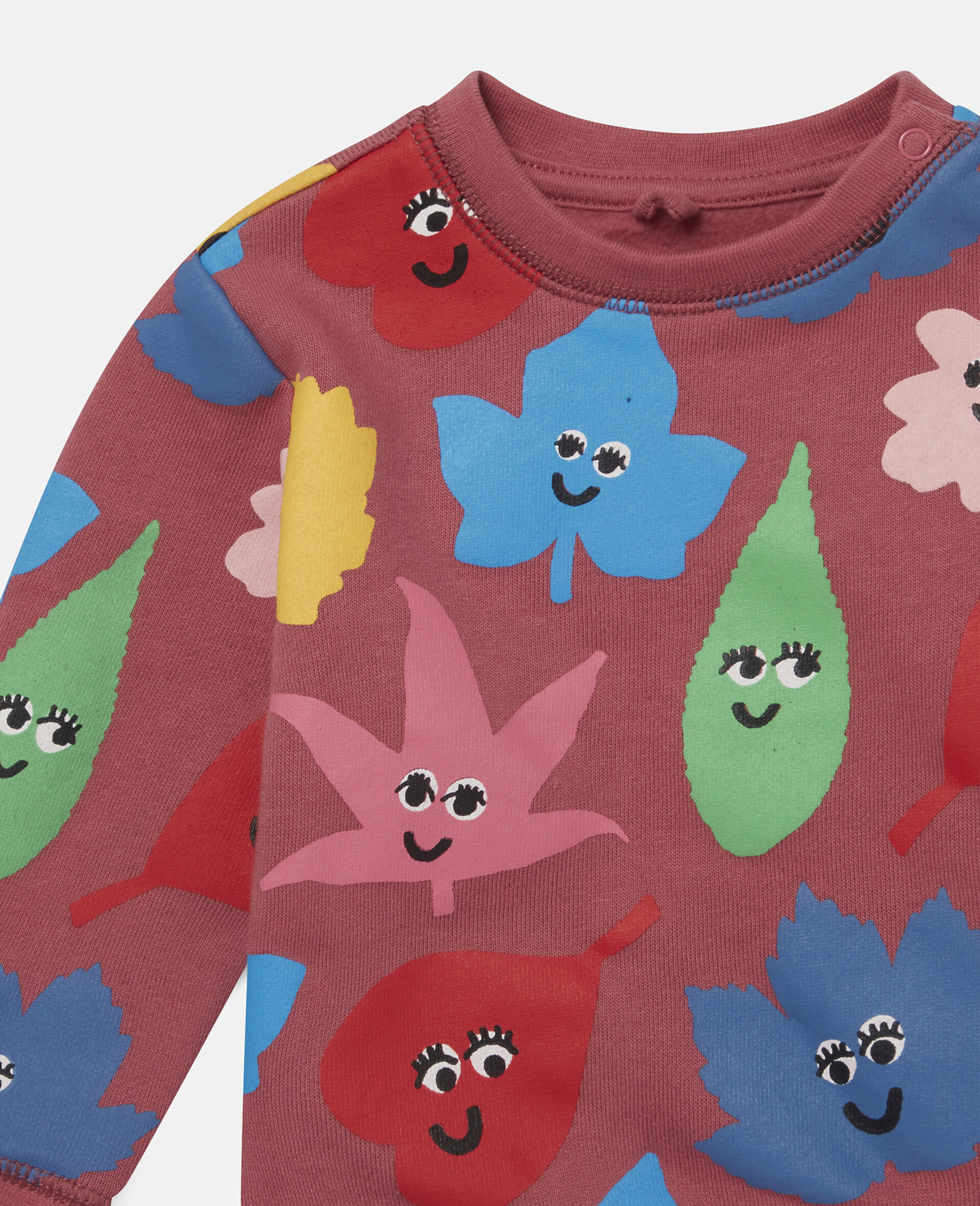 Happy Leaves Fleece Sweat-Red-large image number 1