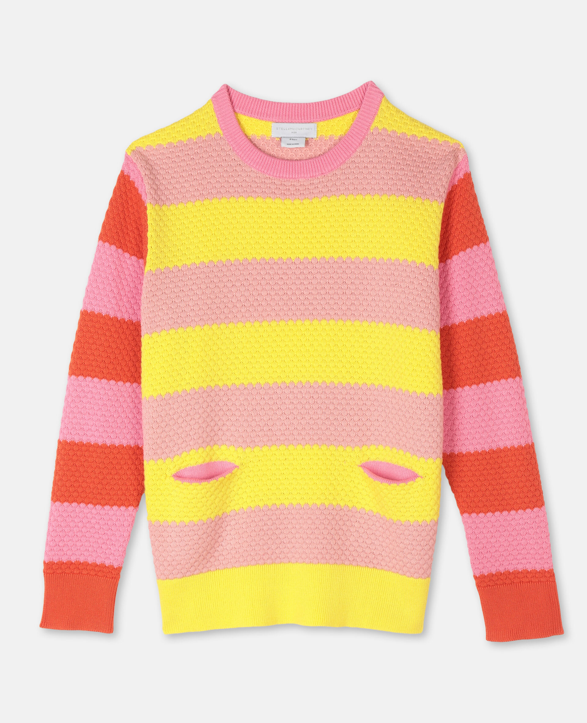 Bubble Knit Cotton Jumper -Red-large image number 0