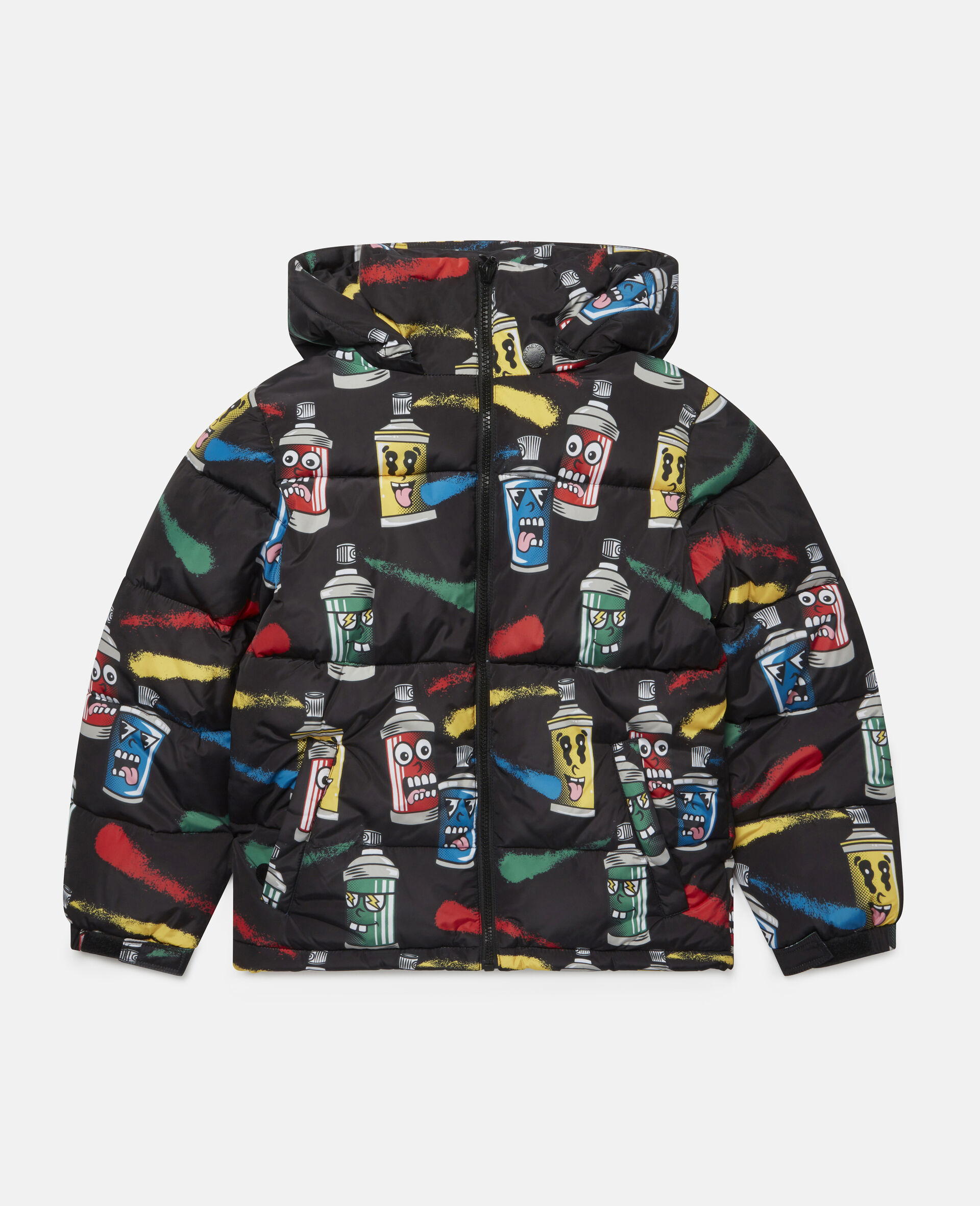 Painting Faces Puffer Jacket-Black-large image number 0