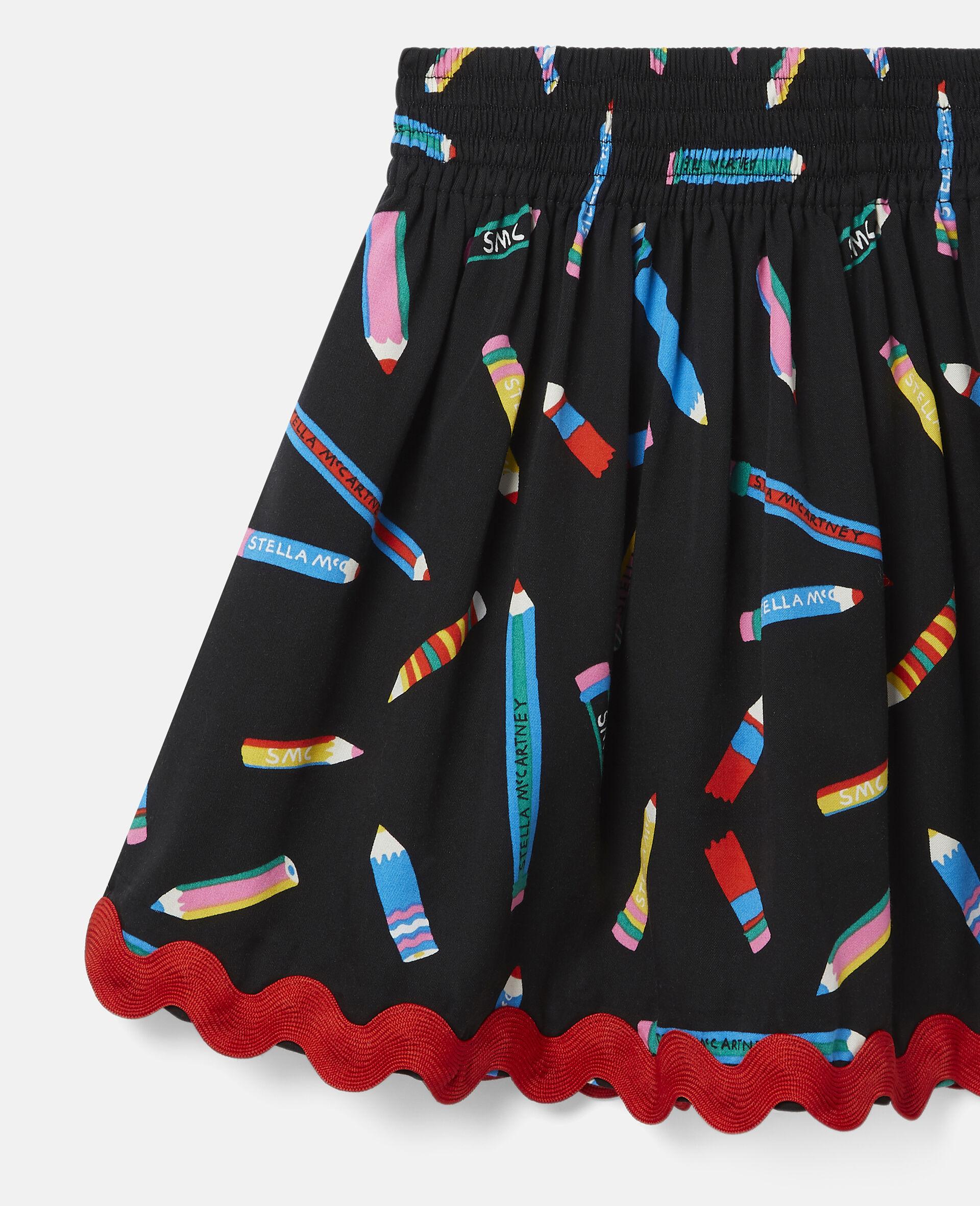 Pencil Twill Skirt -Black-large image number 2
