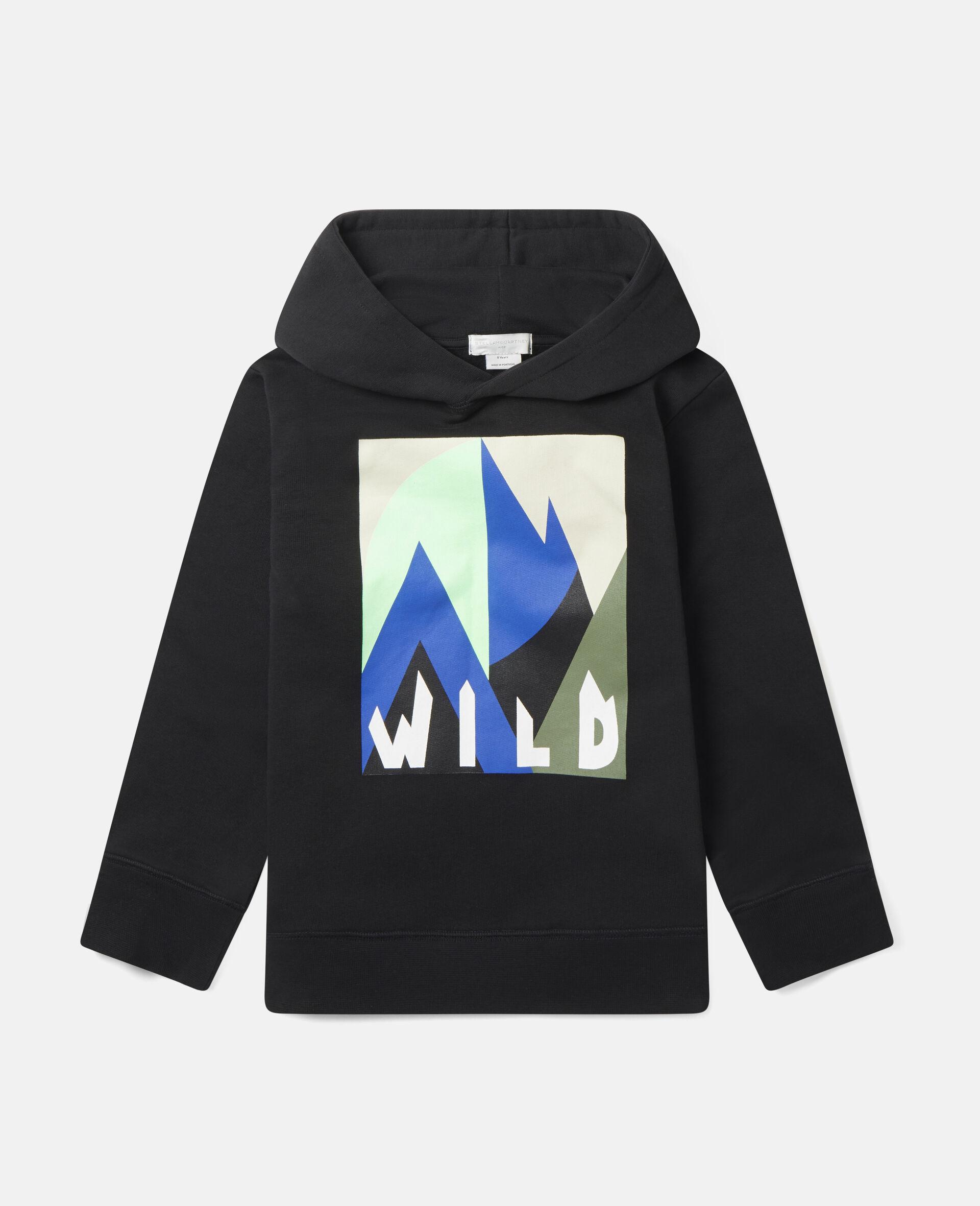 Oversized Graphic Mountain Fleece Hoodie-Black-large image number 0