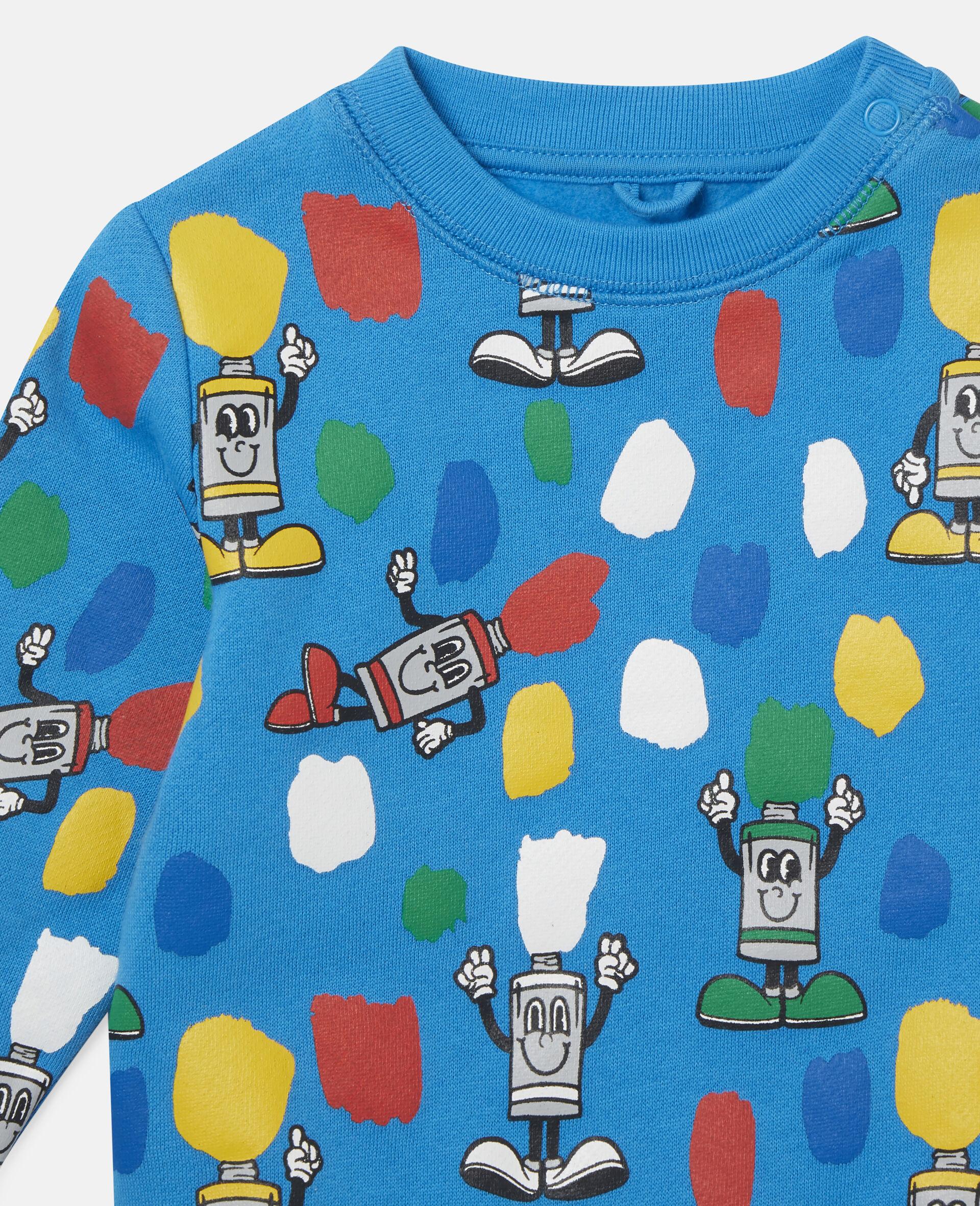"""Fleece-Sweatshirt mit """"Paint Tubes""""-Print-Blau-large image number 1"""