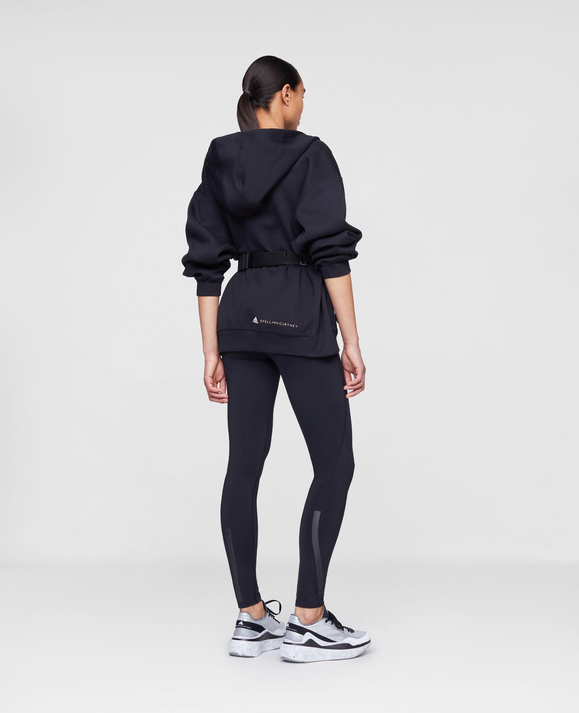 Schwarzes Kapuzensweatshirt mit Reißverschluss-Schwarz-large image number 2