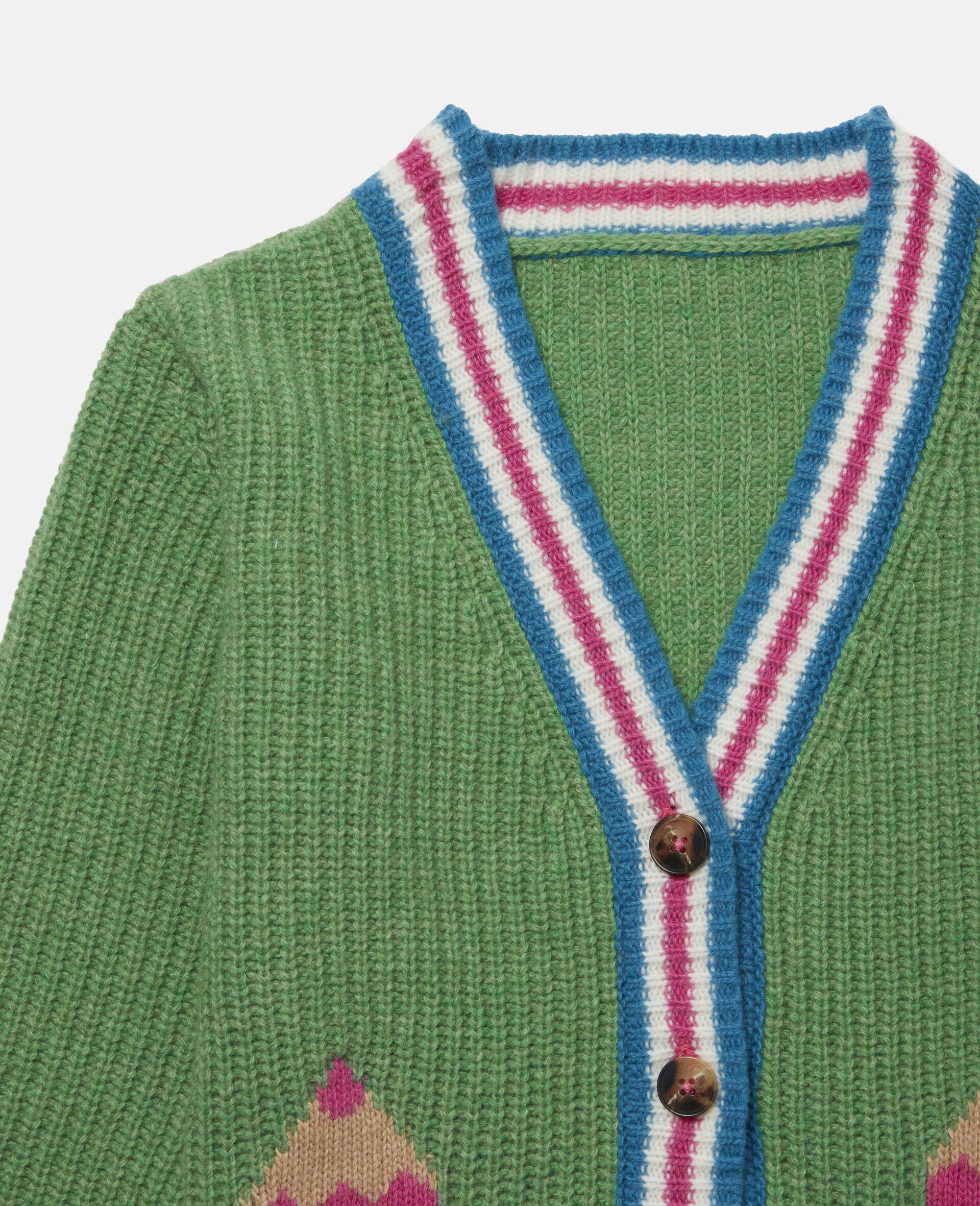 Cardigan en maille motif intarsia crayons -Vert-large image number 1