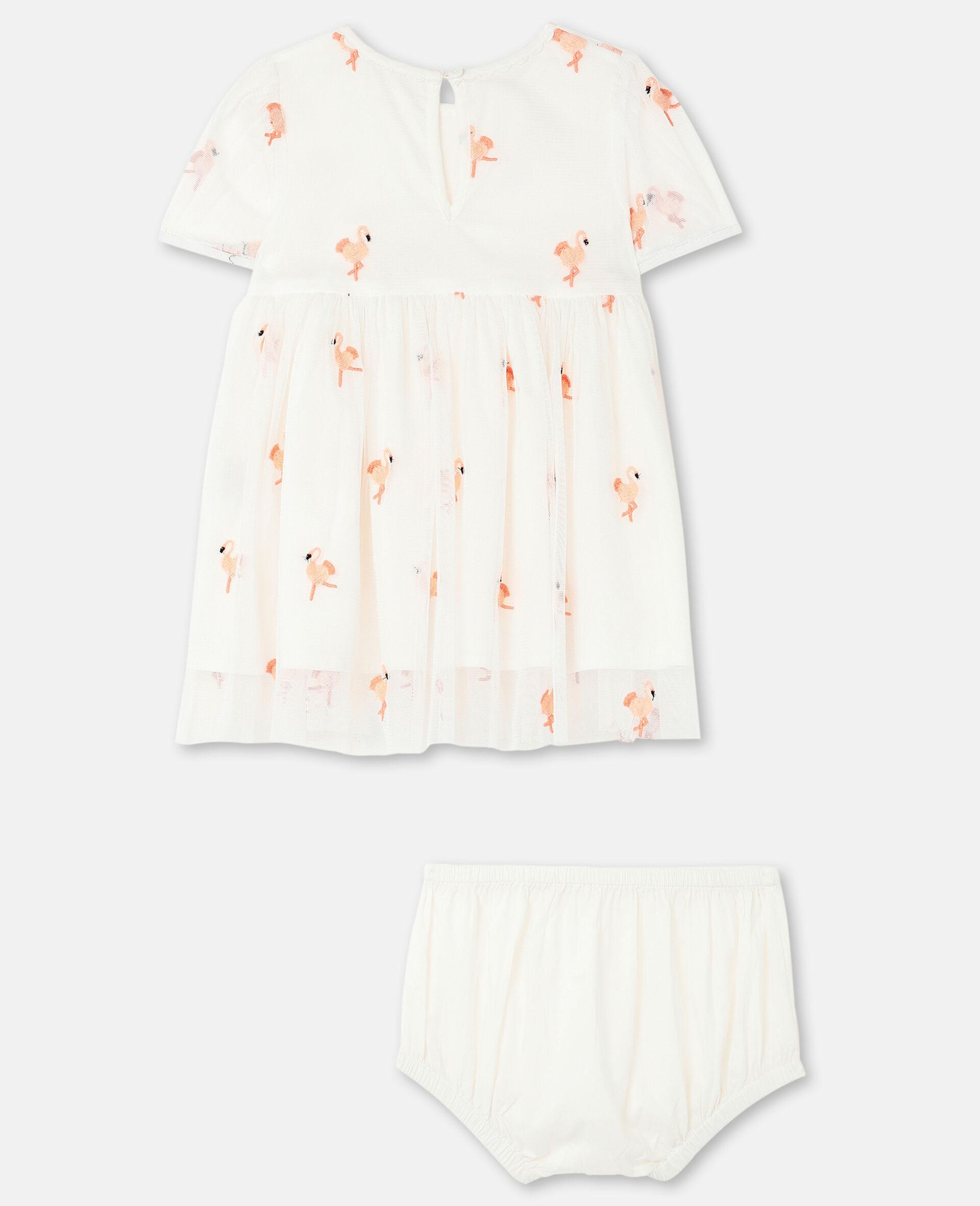 Robe en tulle avec flamants roses brodés-Blanc-large image number 3