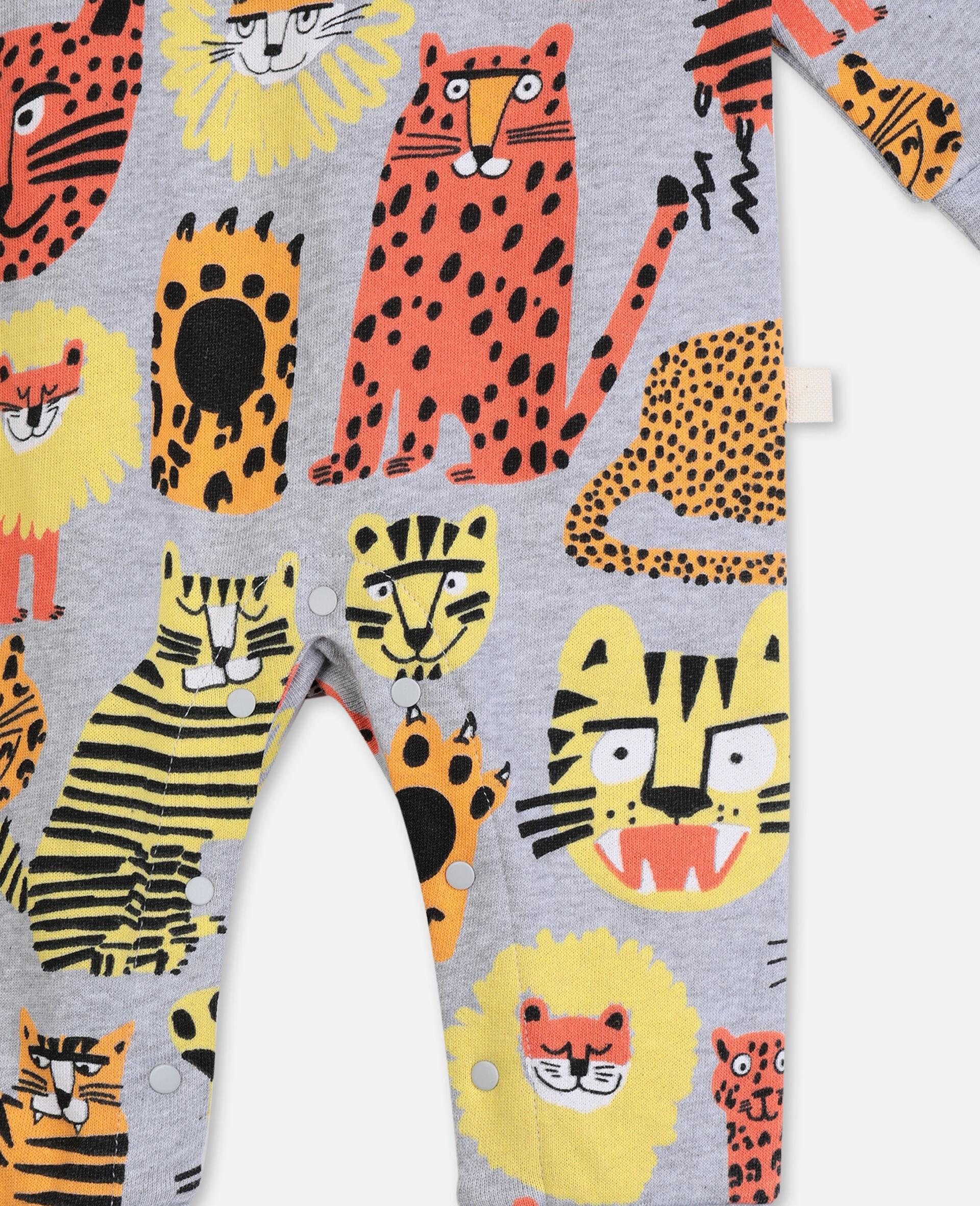 Jumpsuit aus Baumwolle mit Wildkatzen-Print-Bunt-large image number 1