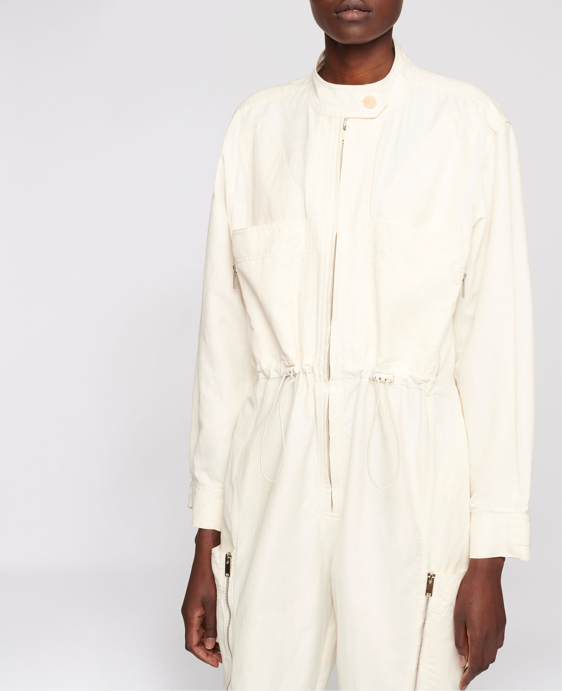 Alessia Compact Cotton Jumpsuit-White-large image number 3