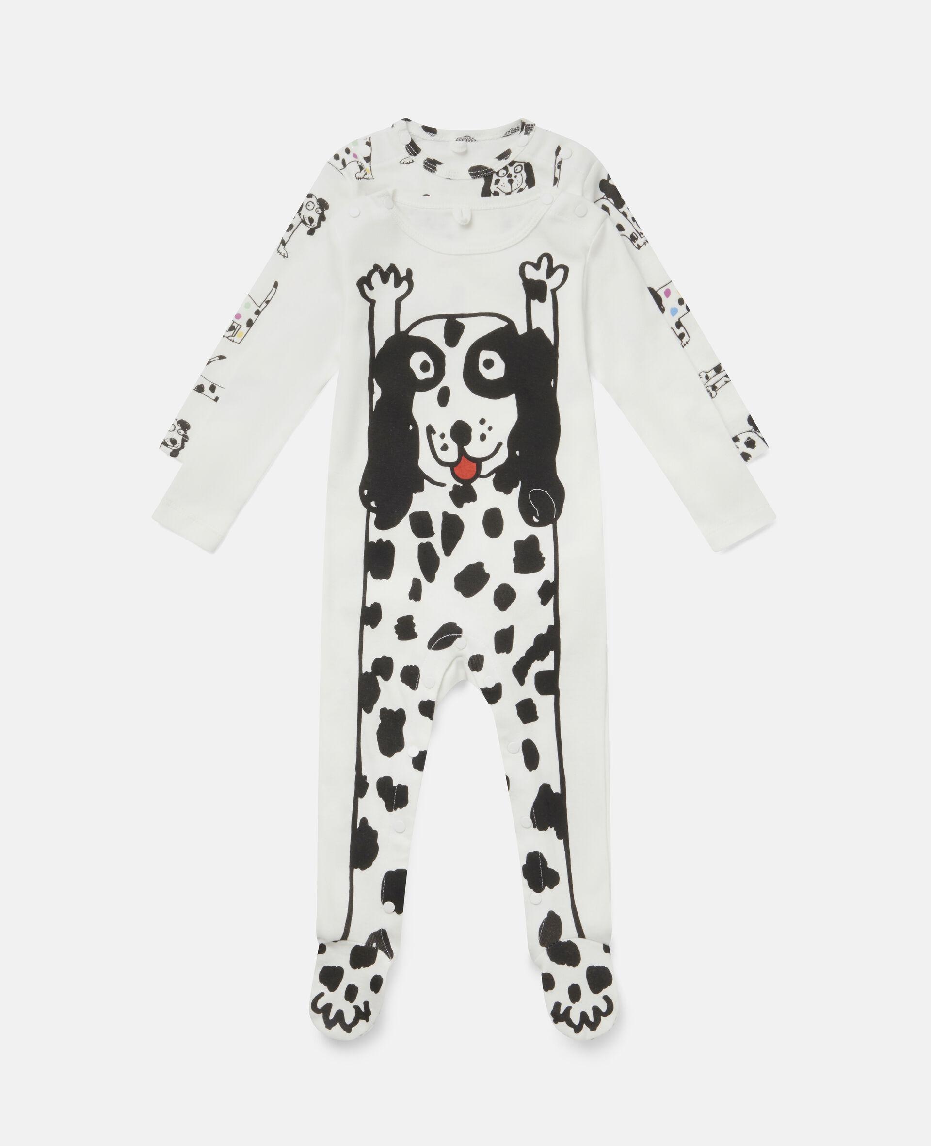 Dalmatian Jersey Rib Babygrow Set-White-large image number 0