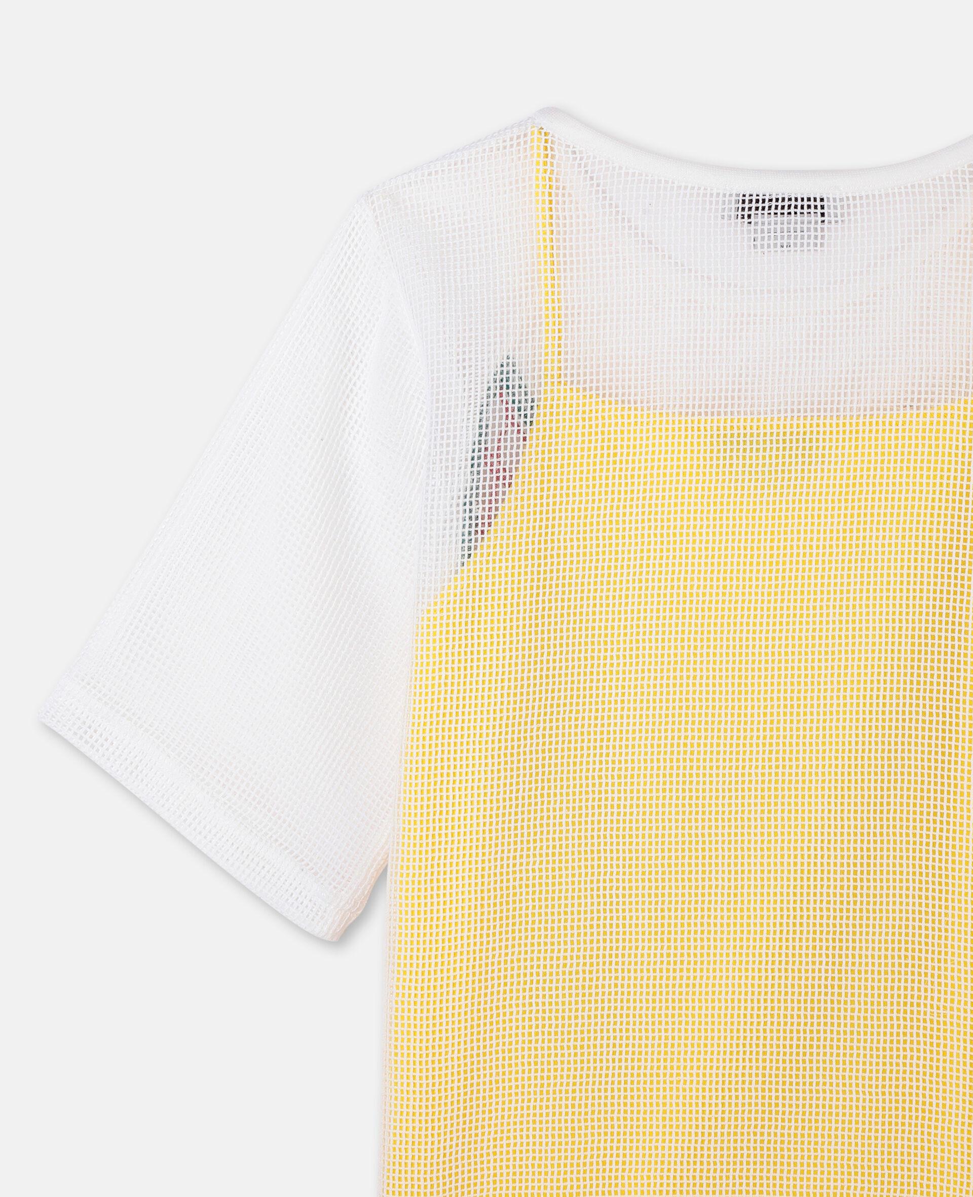 Kleid aus Baumwollmesh mit Schmetterlingen-Weiß-large image number 2