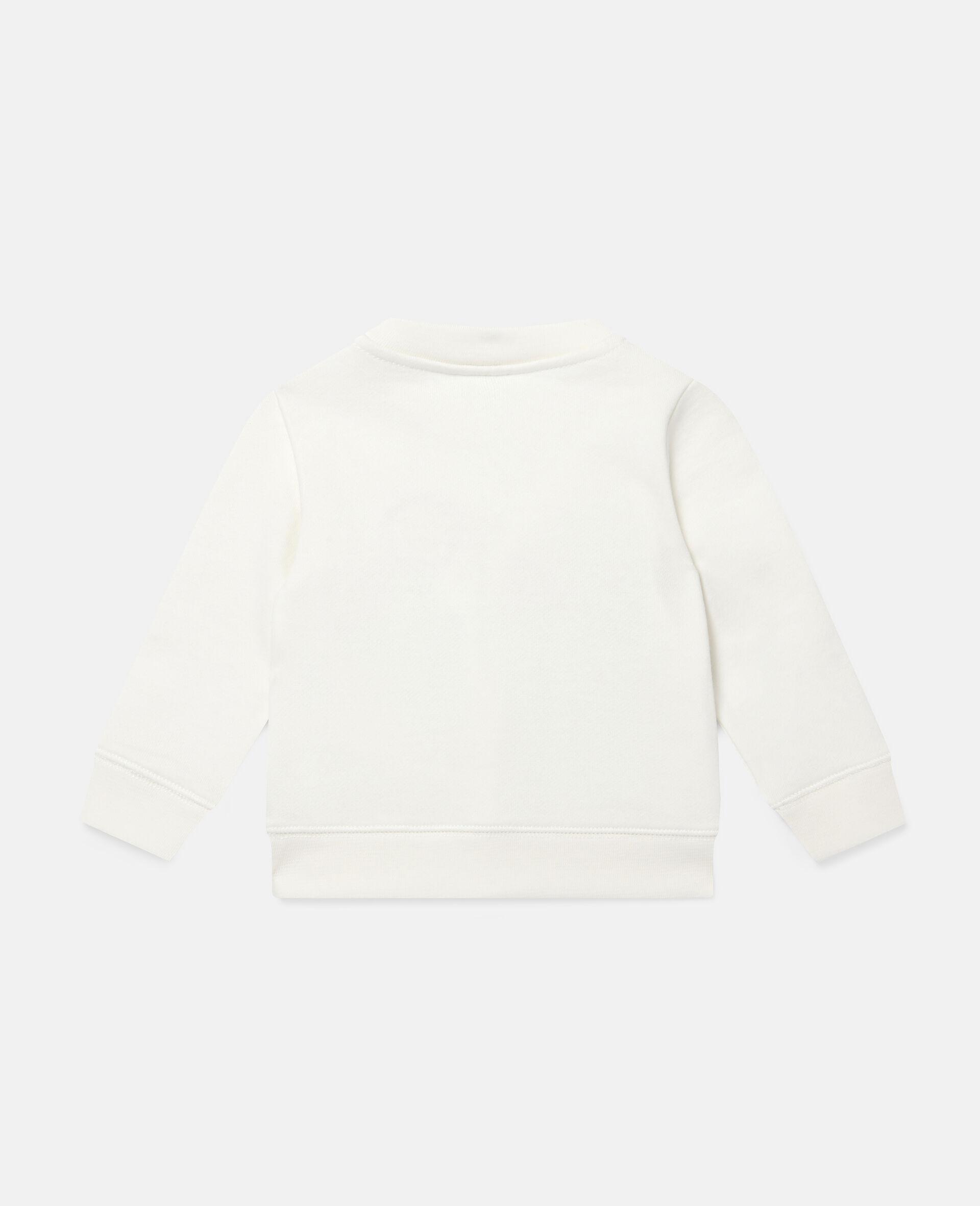 Sweat-shirt en polaire à broderie jardin-Blanc-large image number 3