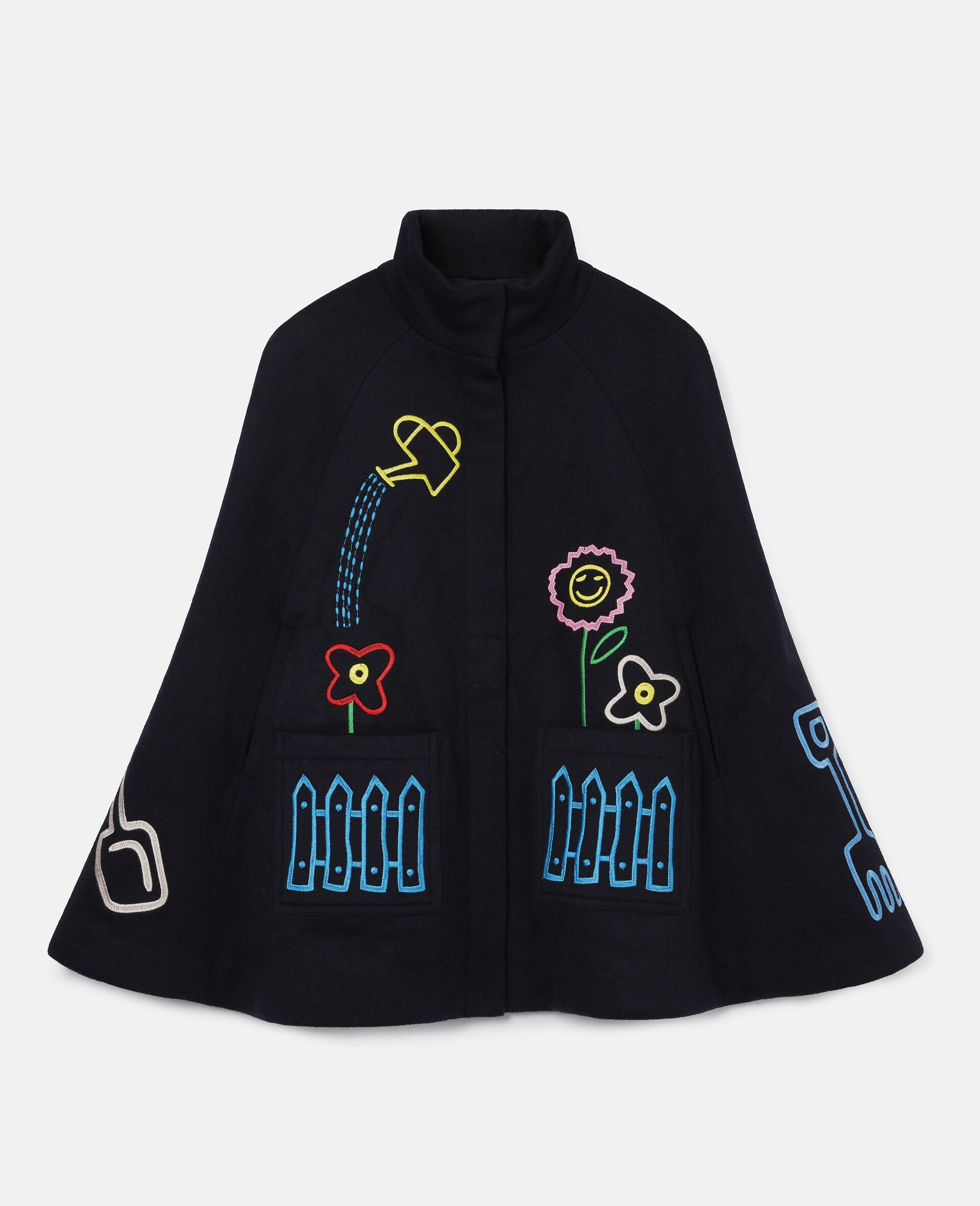 Embroidered Garden Wool Cape -Blue-large image number 0