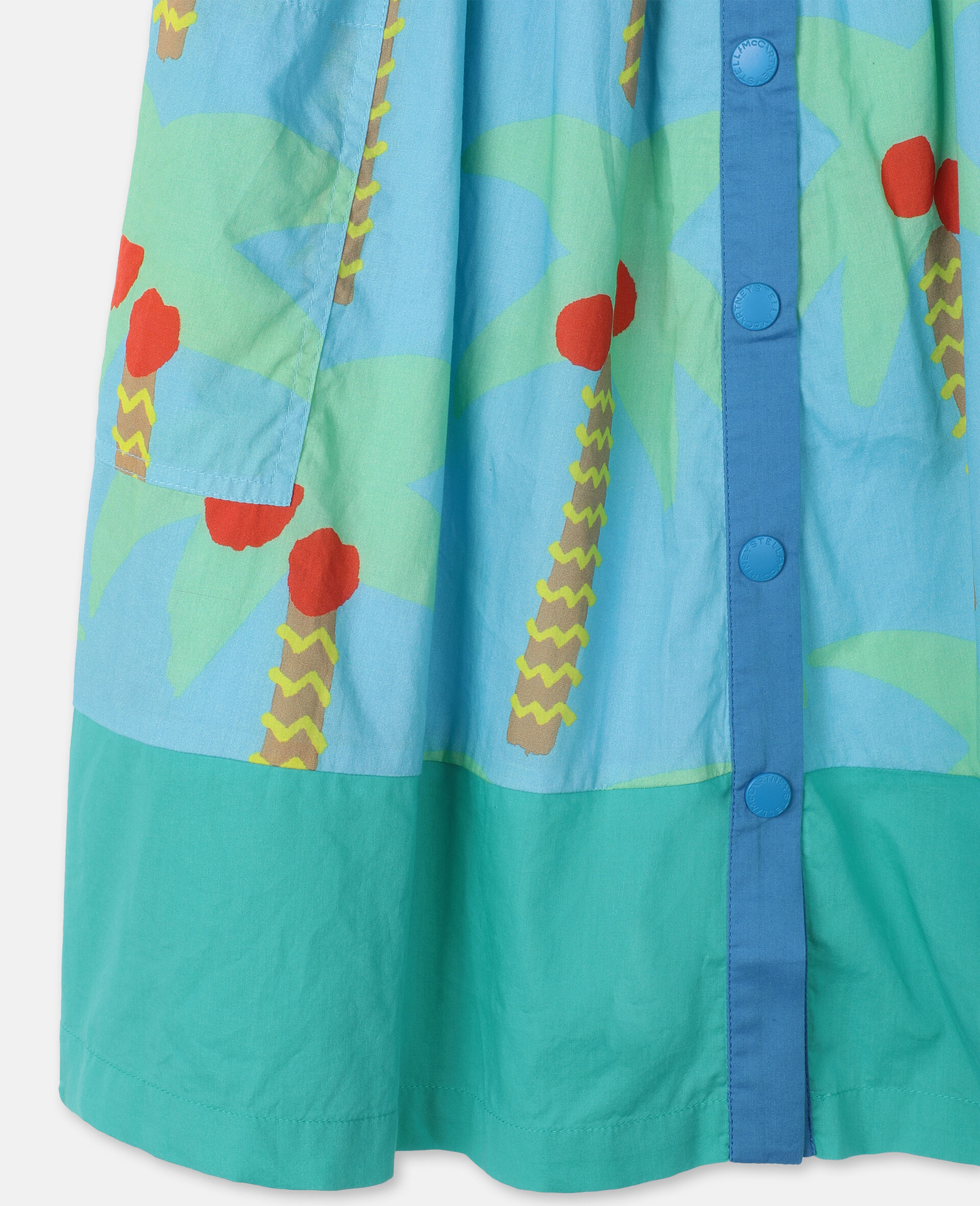 Palm Trees Cotton Skirt -Green-large image number 2
