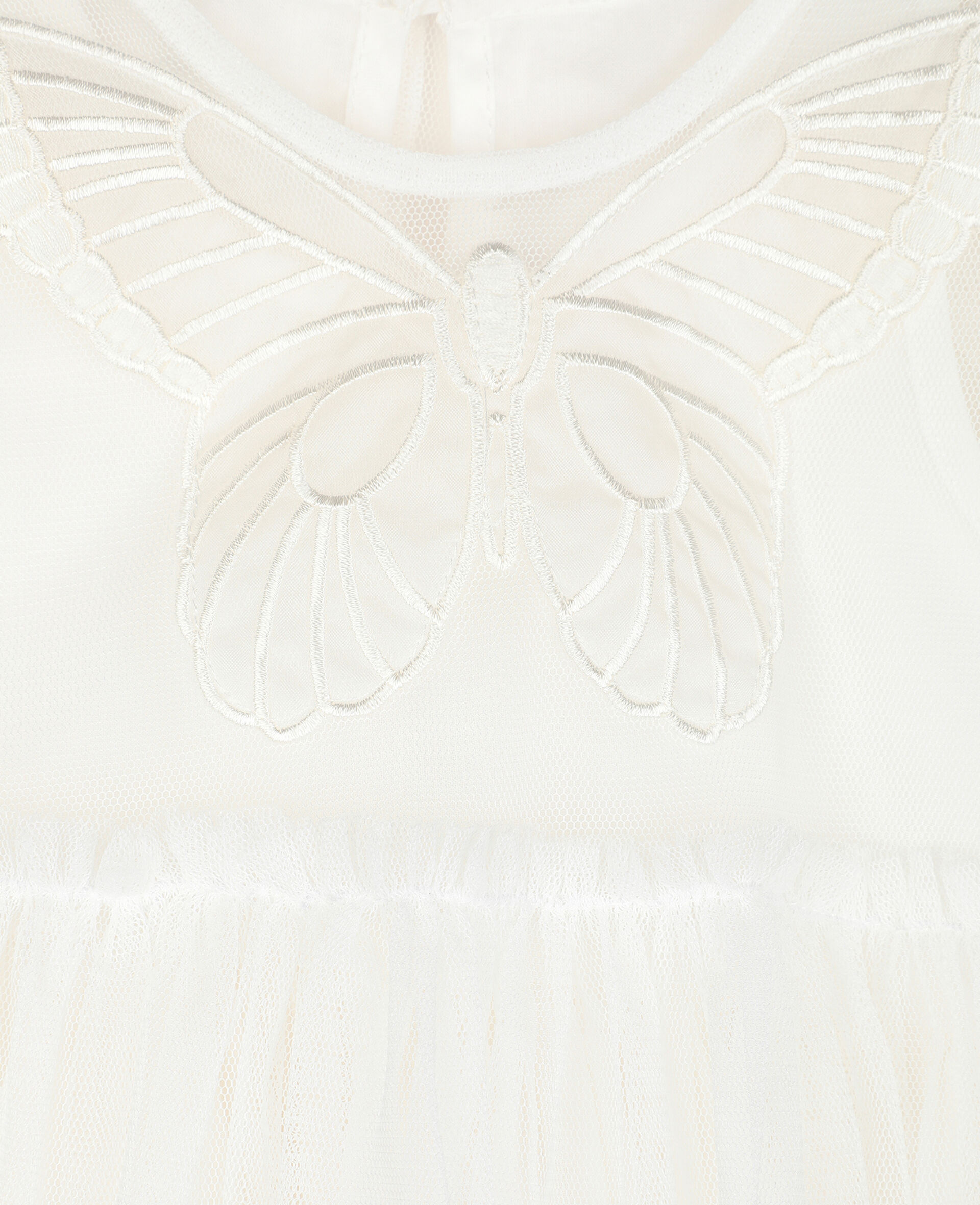 Butterfly Patch Tulle Dress -White-large image number 1