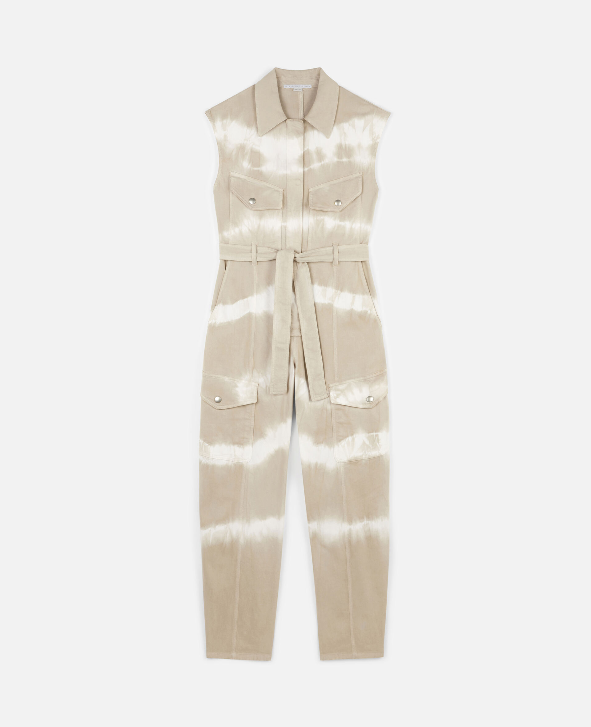 Tie-Dye Denim Jumpsuit-Beige-large image number 0