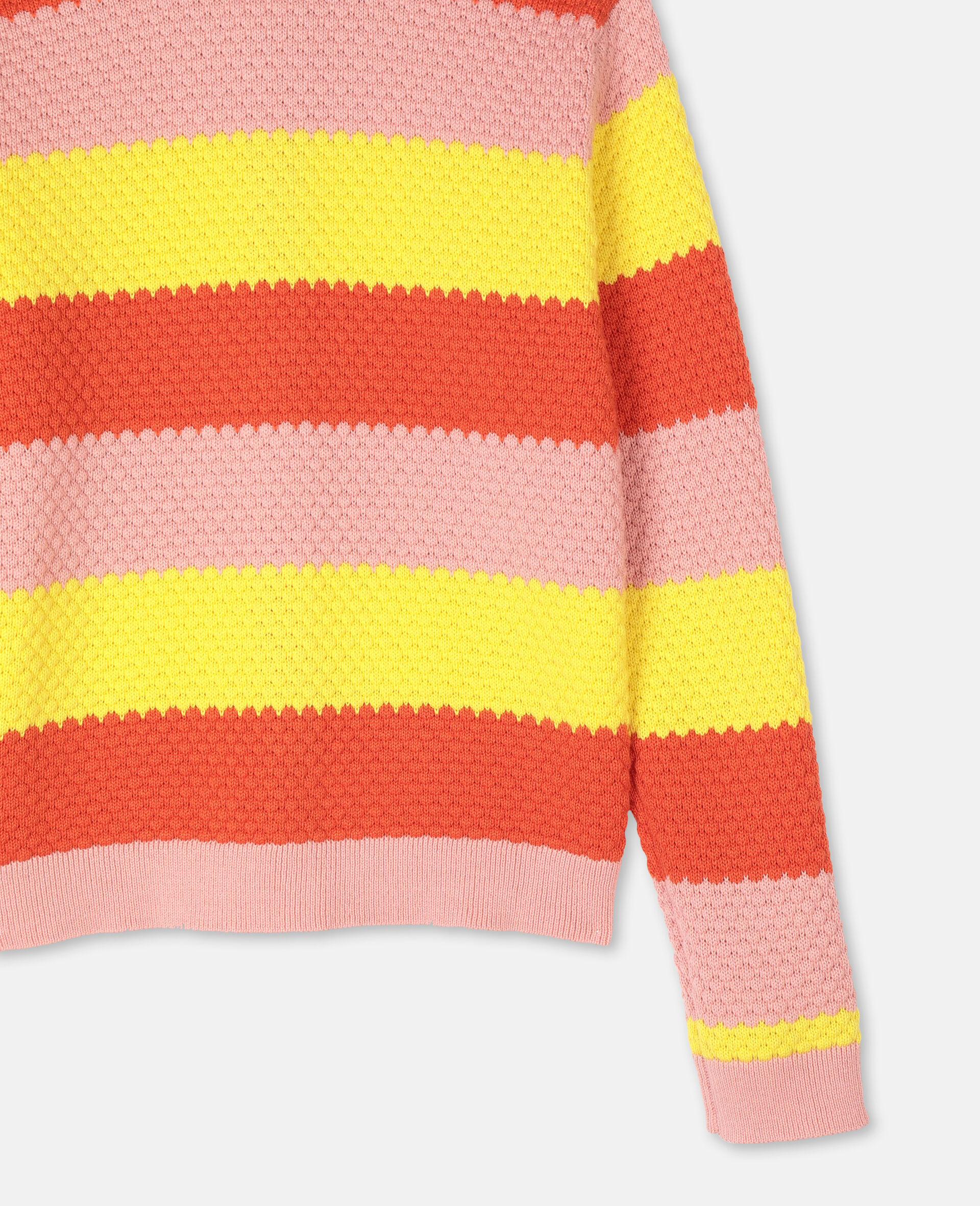Bubble Knit Cotton Cardigan -Red-large image number 2