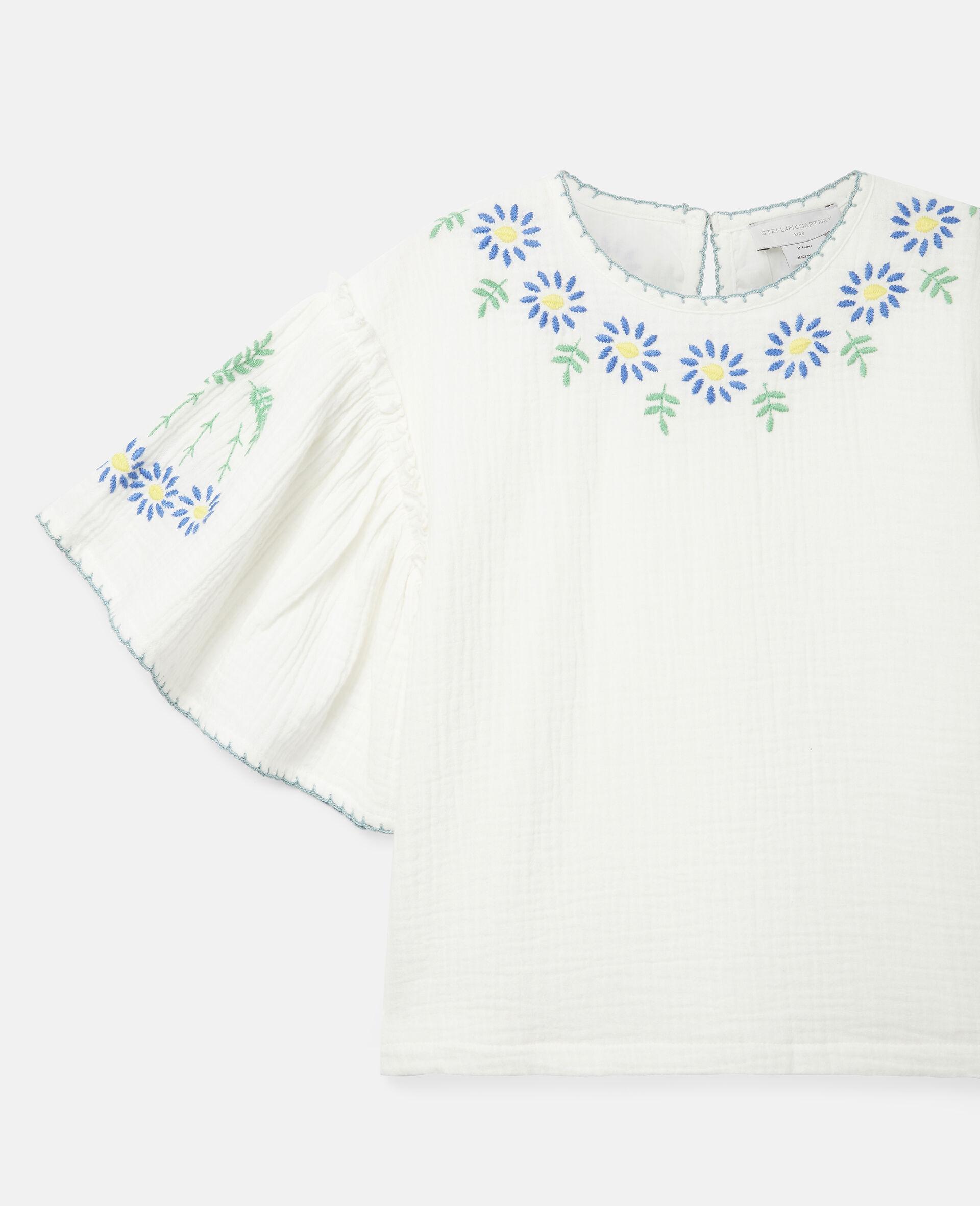 Haut en coton à fleurs brodées-Blanc-large image number 2