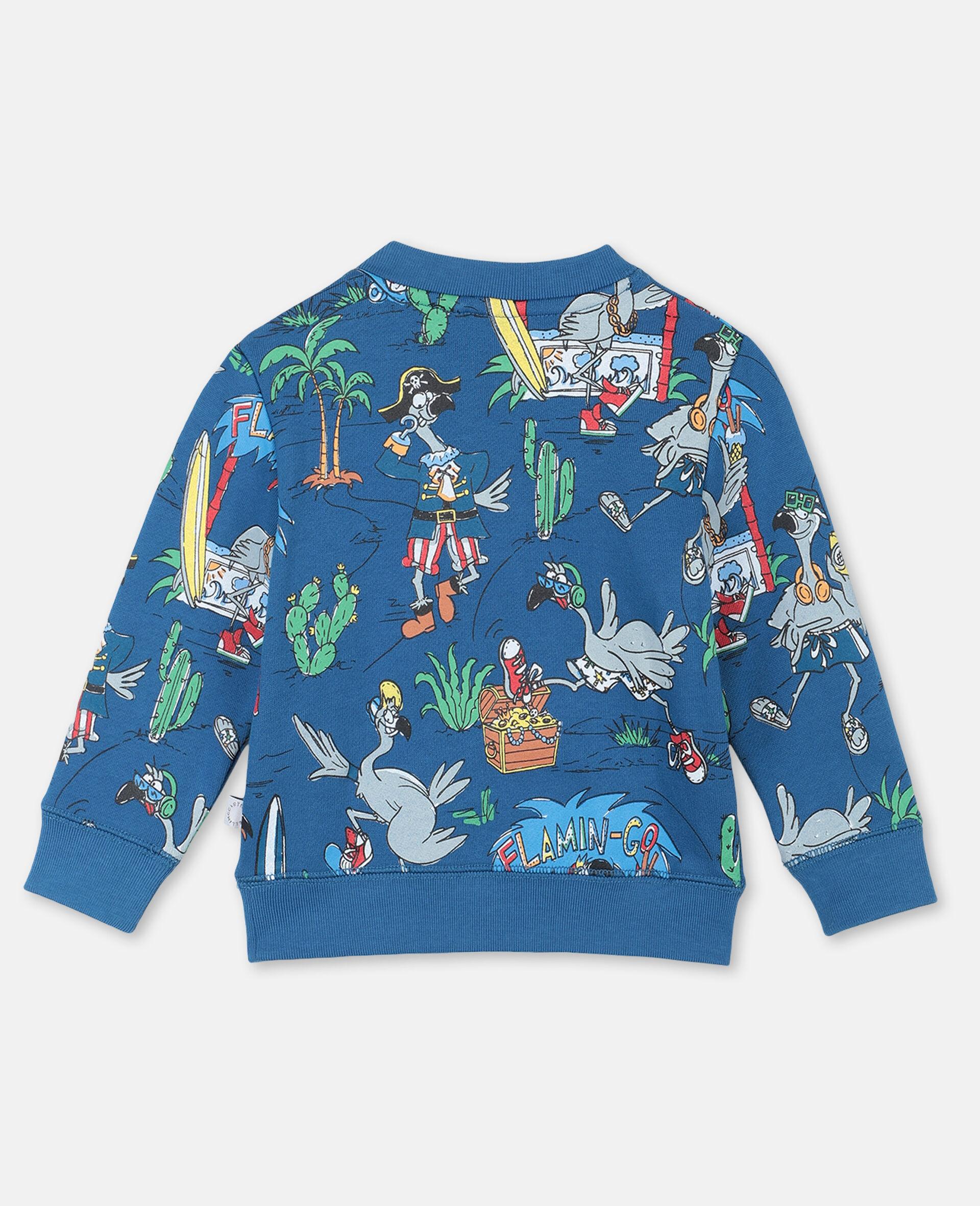 Sweat-shirt à motif planète flamants roses -Bleu-large image number 3