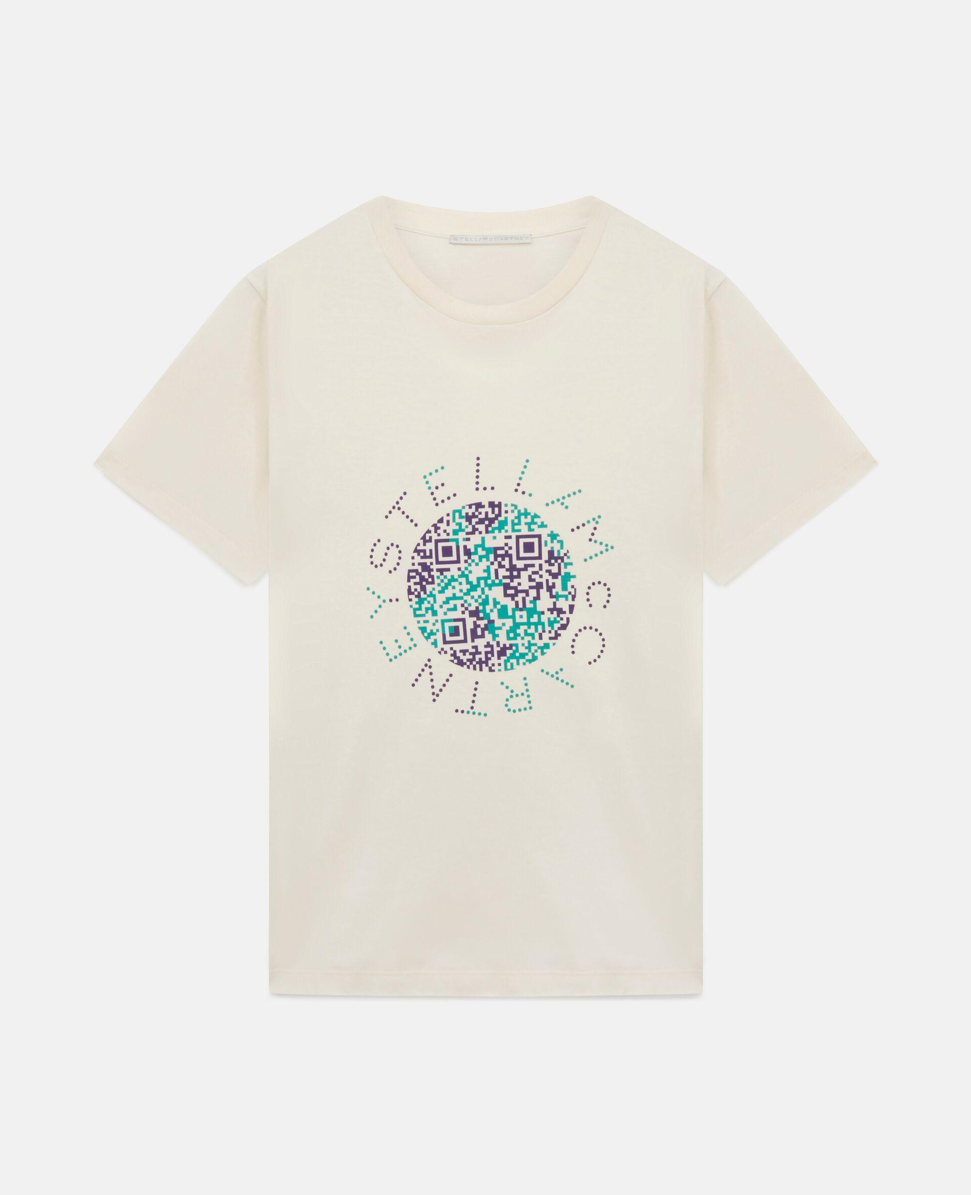 地球印花棉质 T 恤-白色-large image number 0