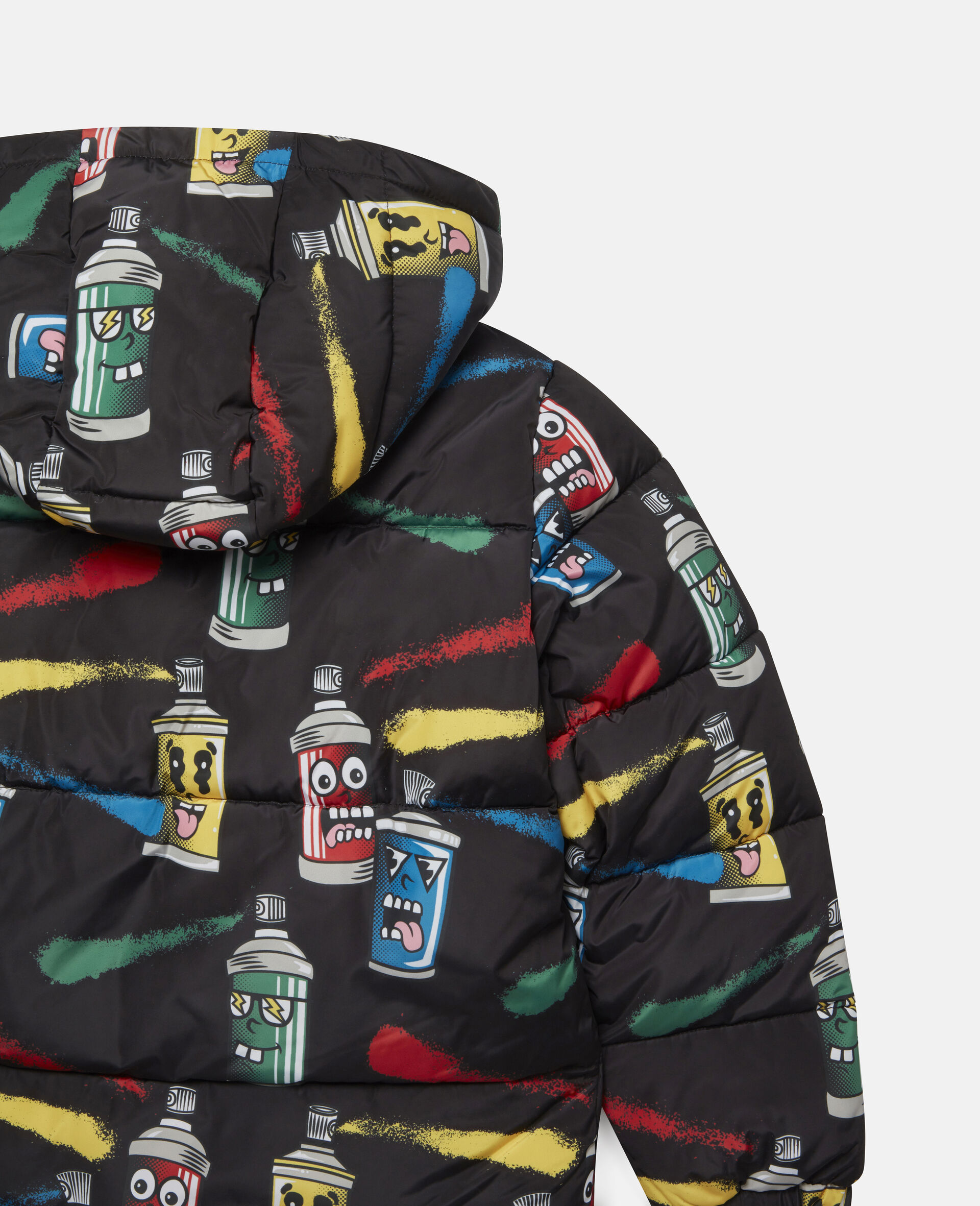 Painting Faces Puffer Jacket-Black-large image number 2