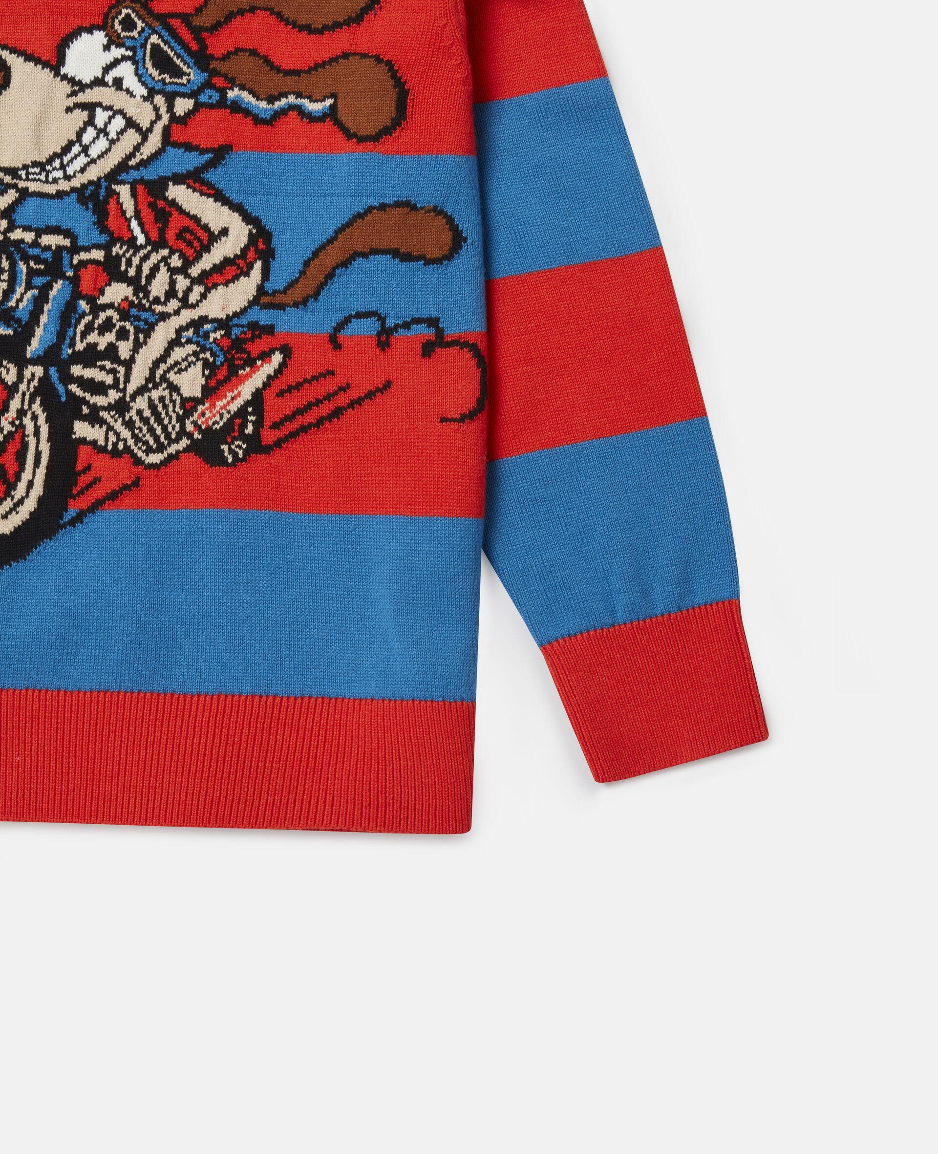 Crazy Dog Oversized Knit Intarsia Sweater-Multicoloured-large image number 2