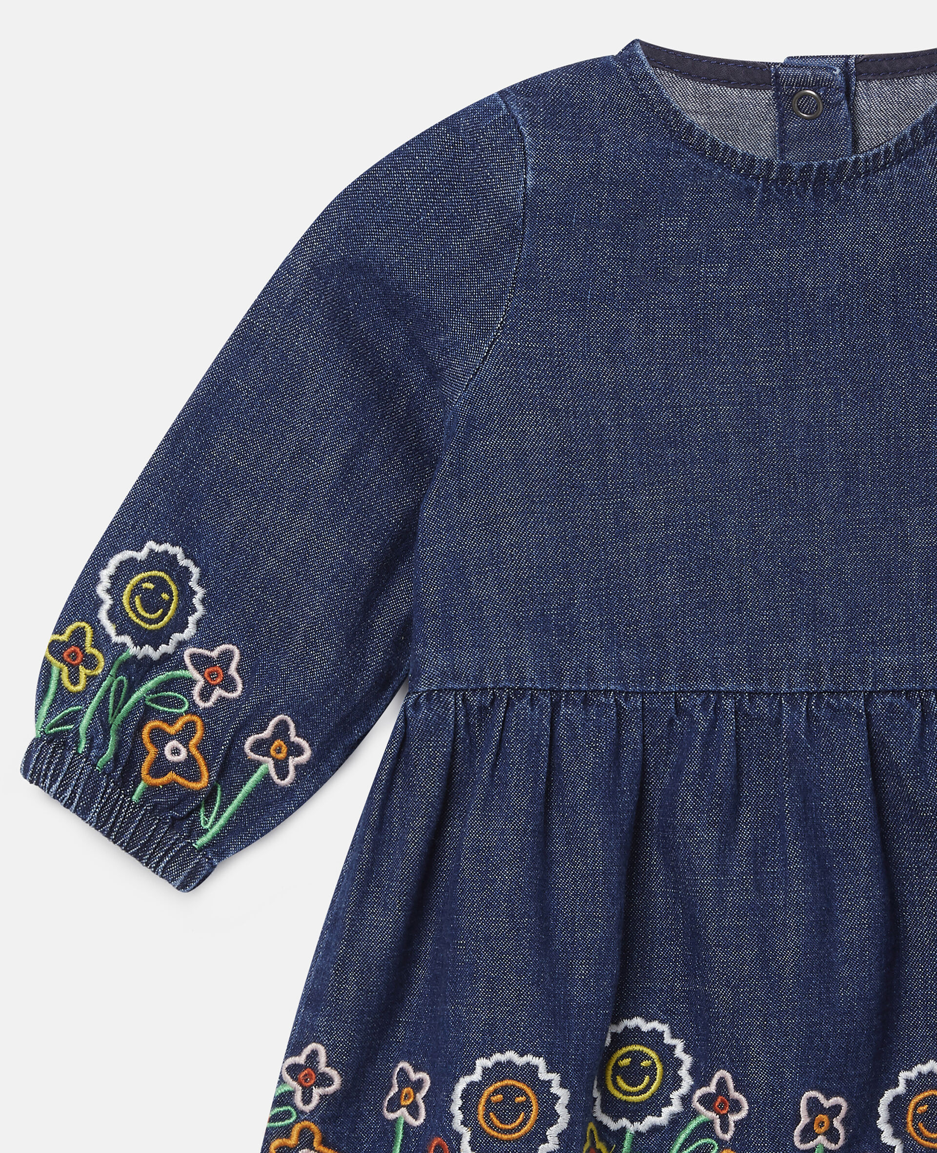 Embroidered Garden Denim Dress-Blue-large image number 2
