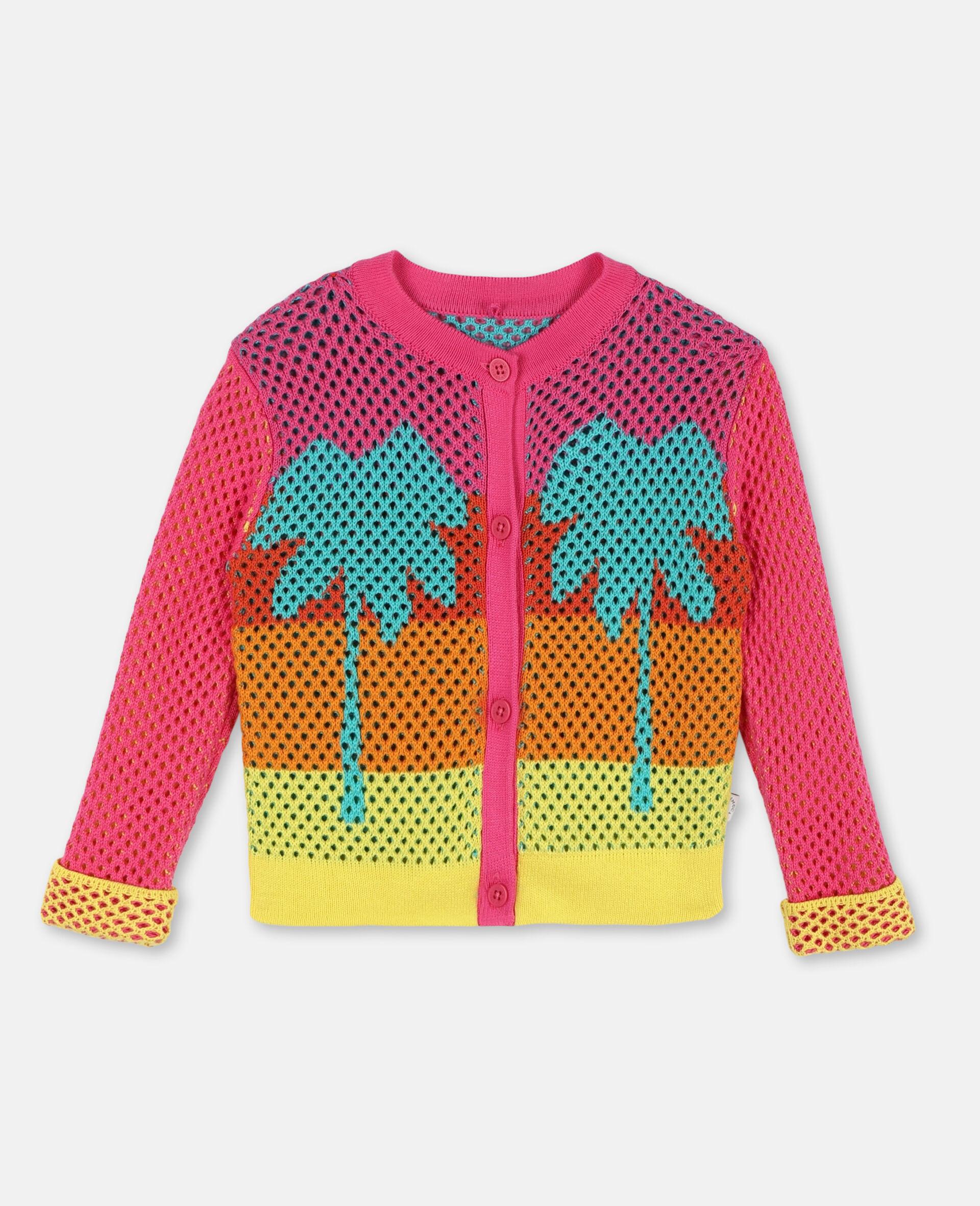 Jacke aus Baumwollmesh mit Intarsien-Bunt-large image number 0